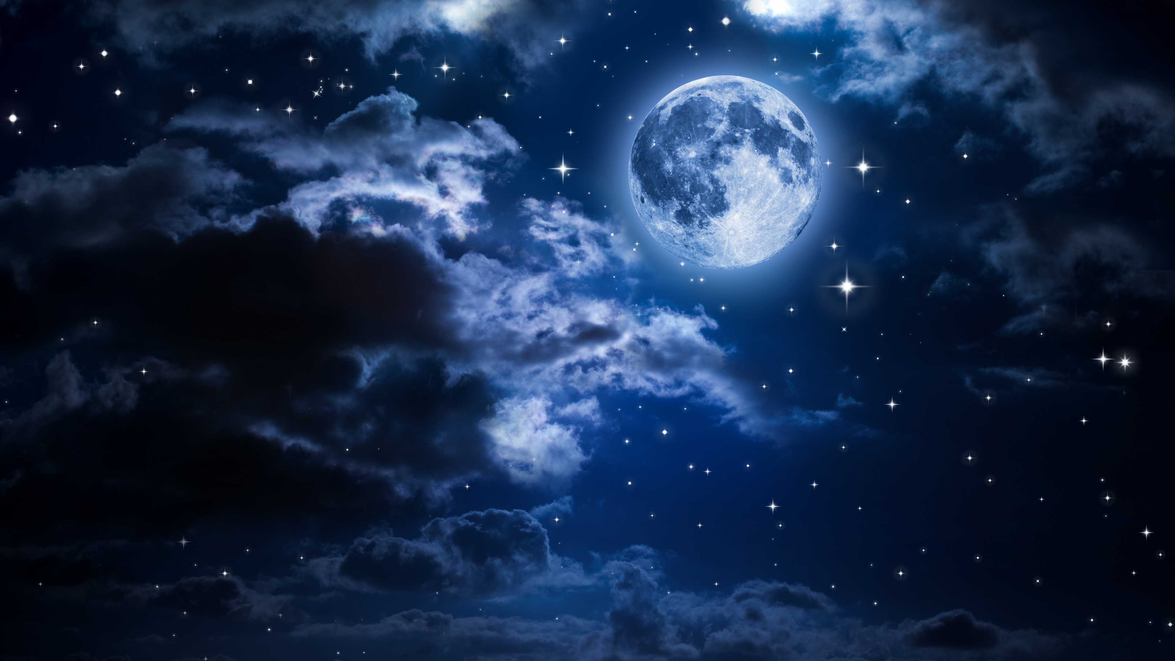 Wallpaper Moon in the clouds