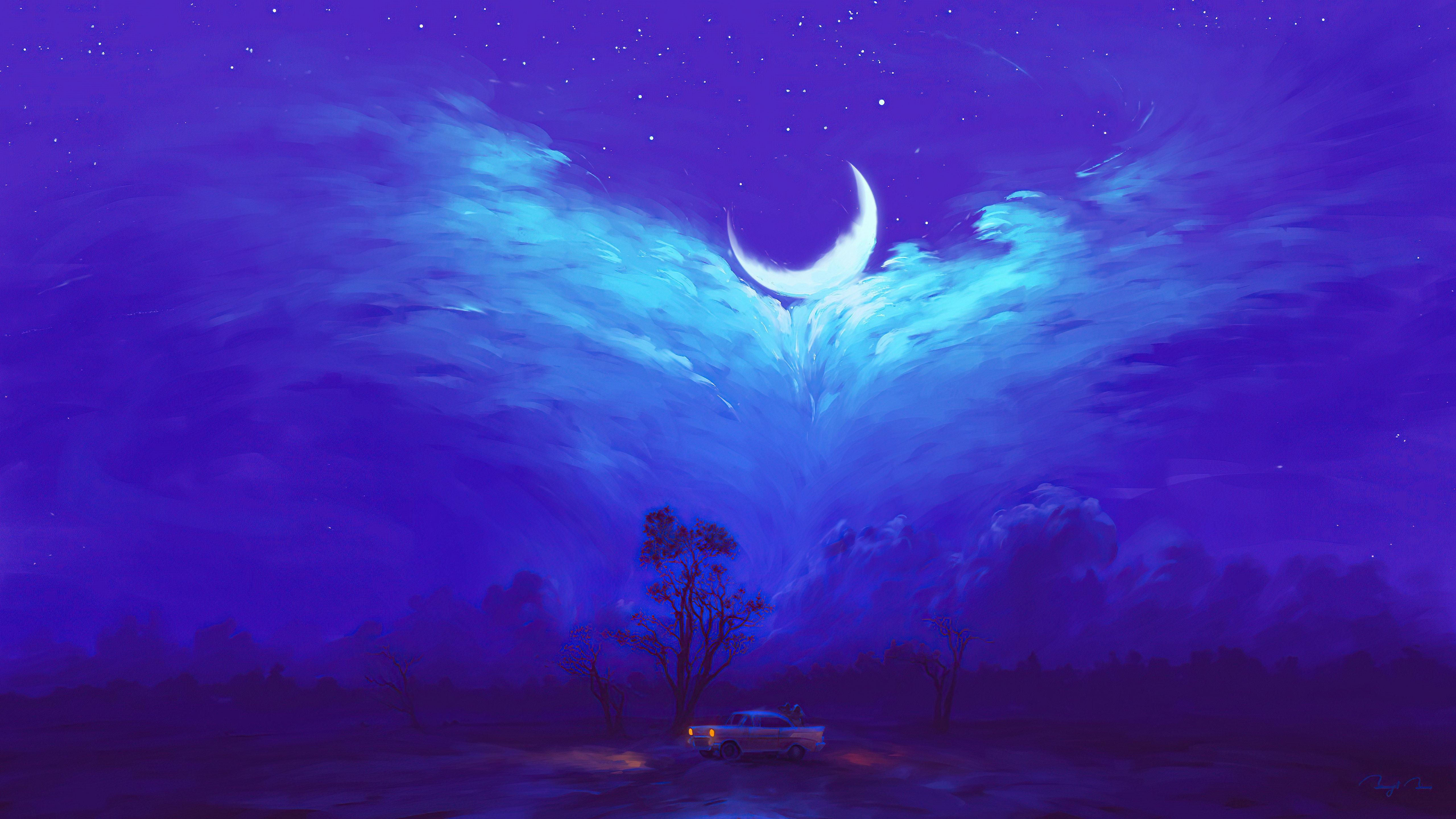 Fondos de pantalla La luna entre llamarada Arte Digital