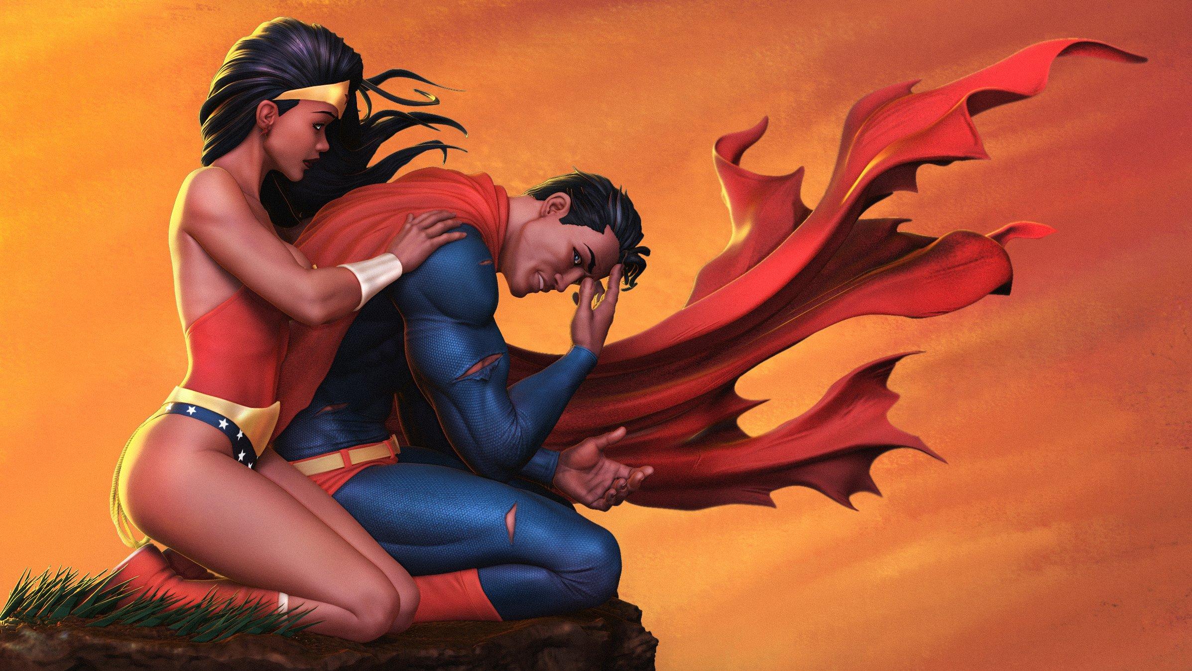 Fondos de pantalla La mujer maravilla abrazando a Superman