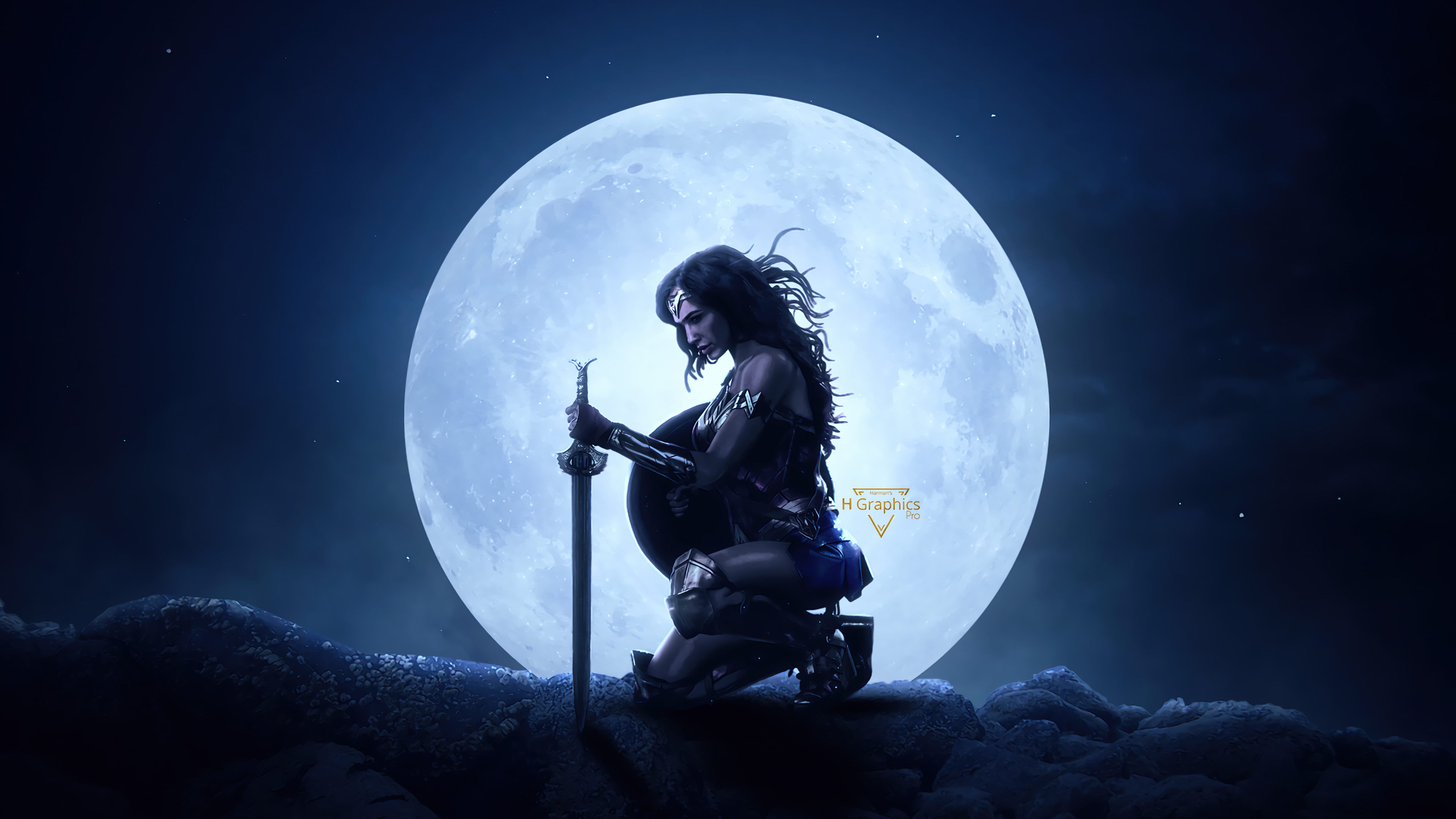 Wallpaper Wonder woman with moon in the background