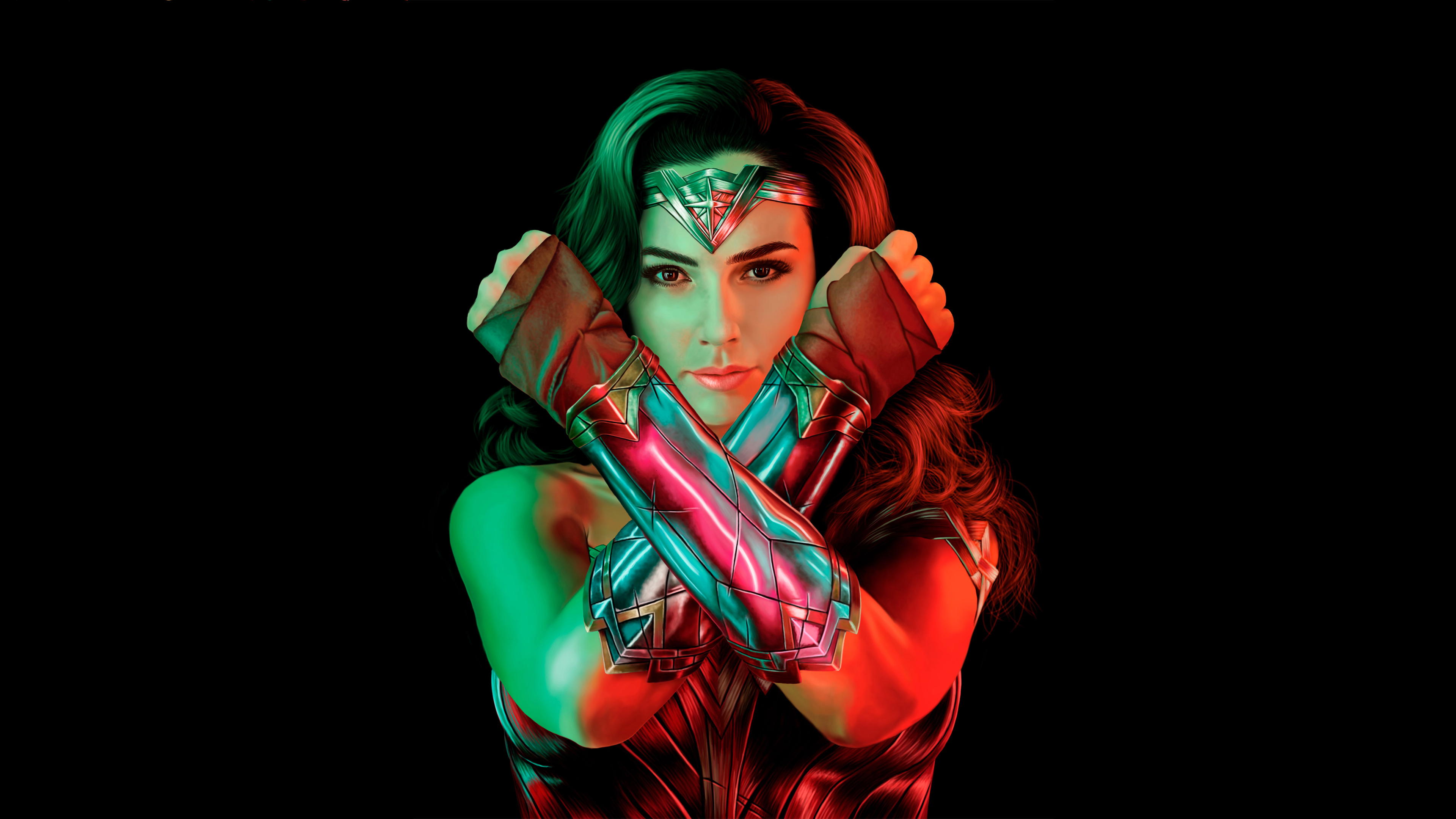 Wallpaper Wonder Woman with green and red lights