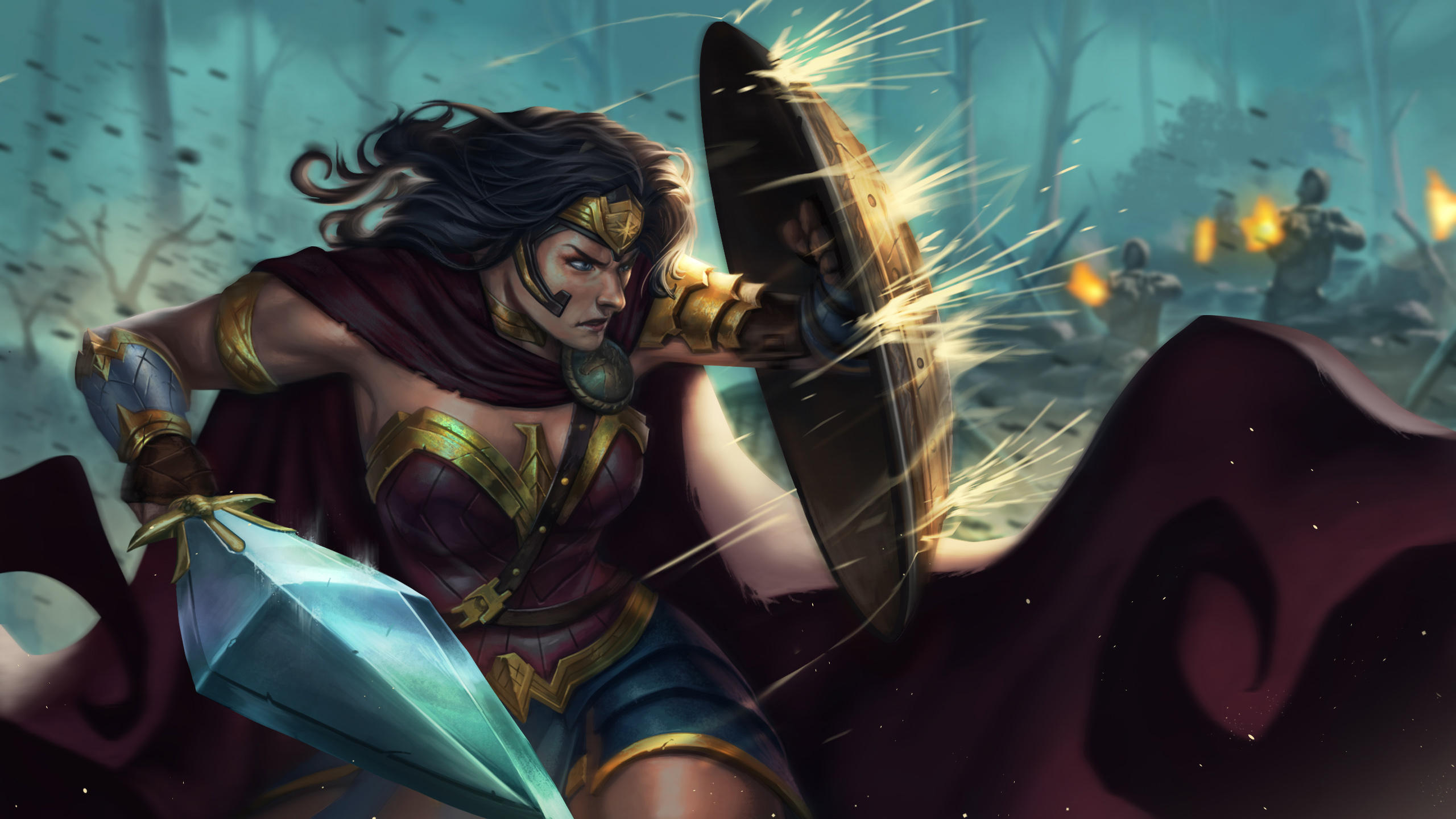 Wallpaper Wonder Woman defending herself with shield