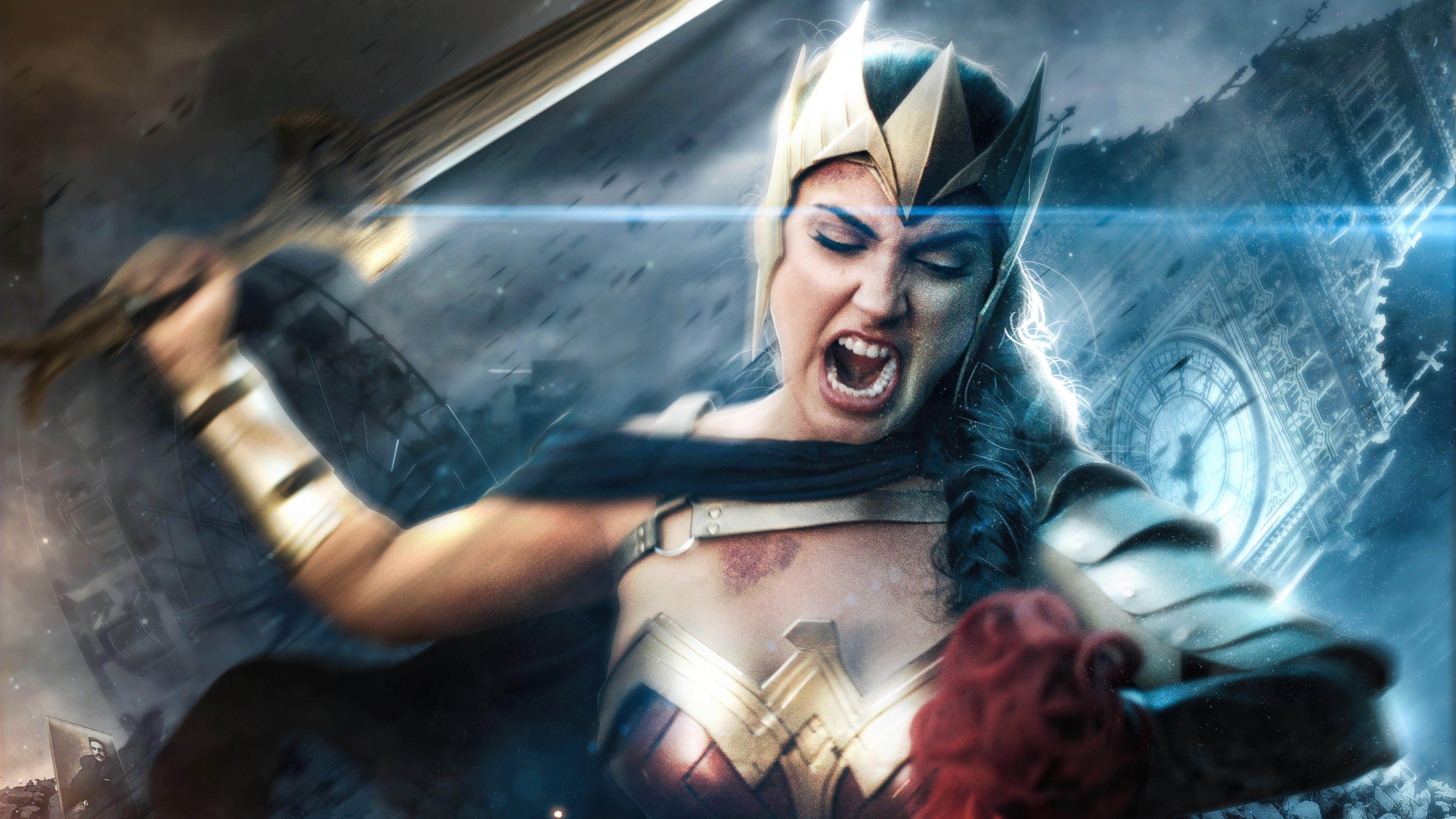 Wallpaper Wonder Woman angry