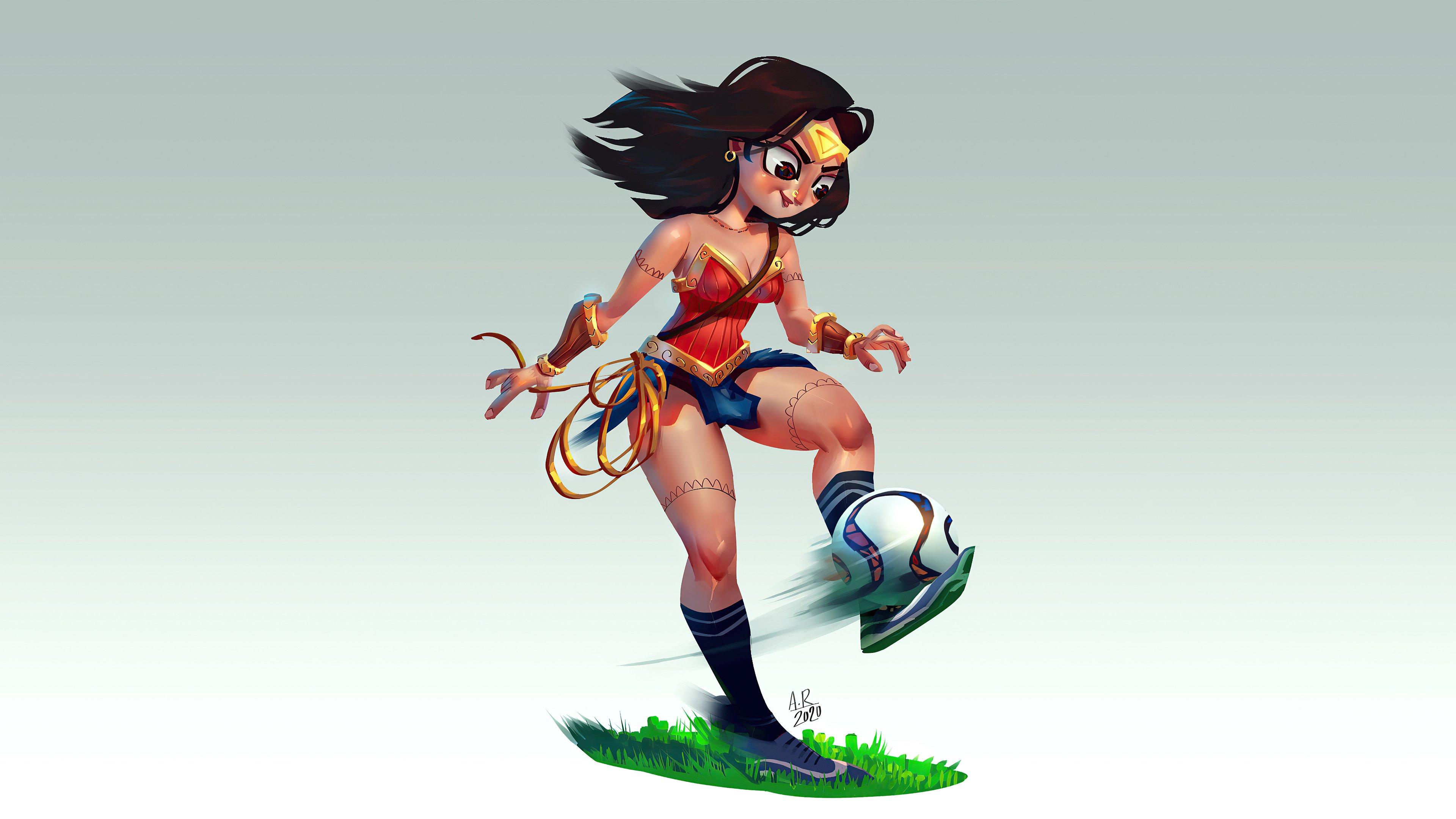 Fondos de pantalla La mujer maravilla jugando futbol