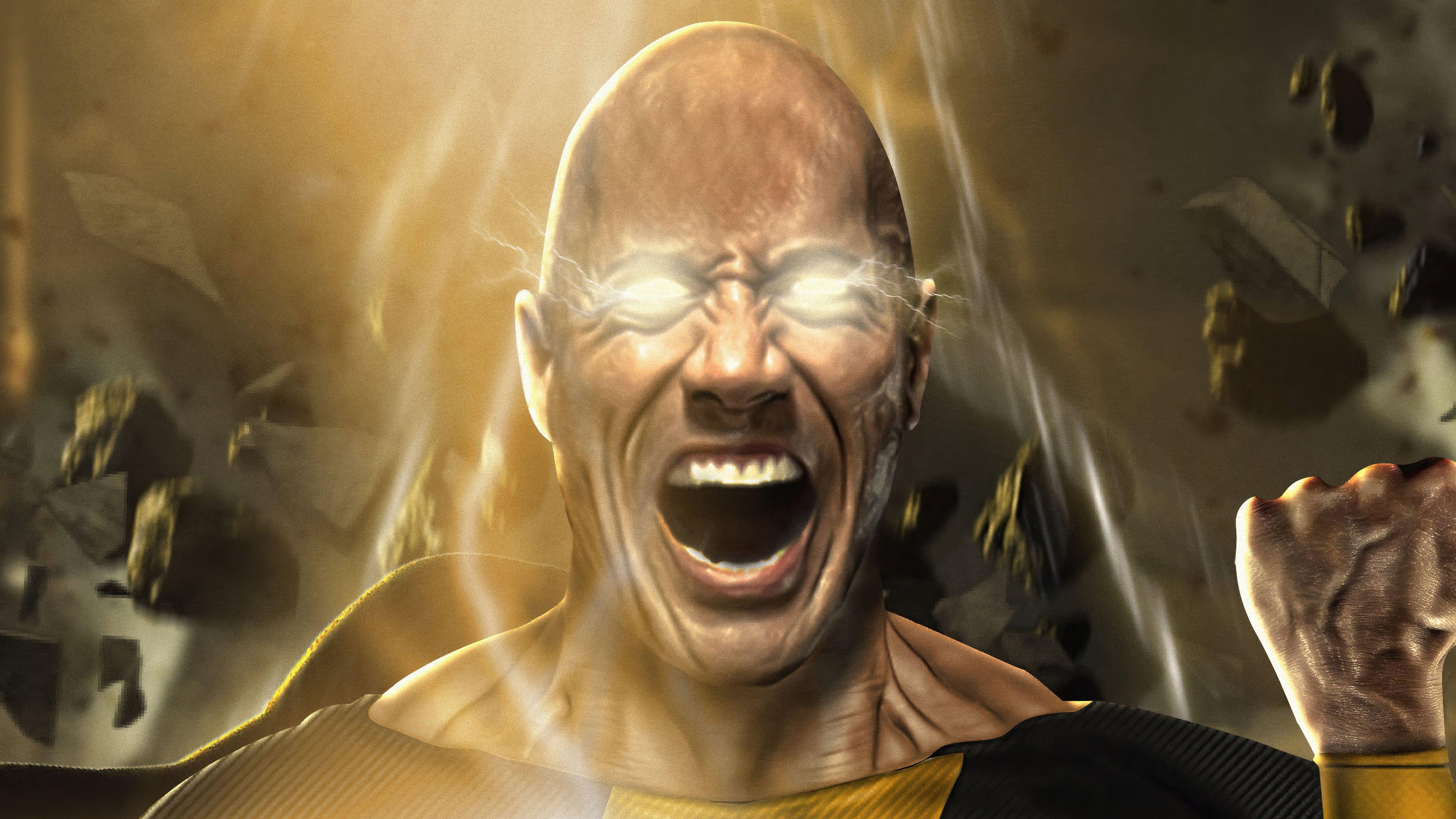 Fondos de pantalla La Roca como Black Adam gritando