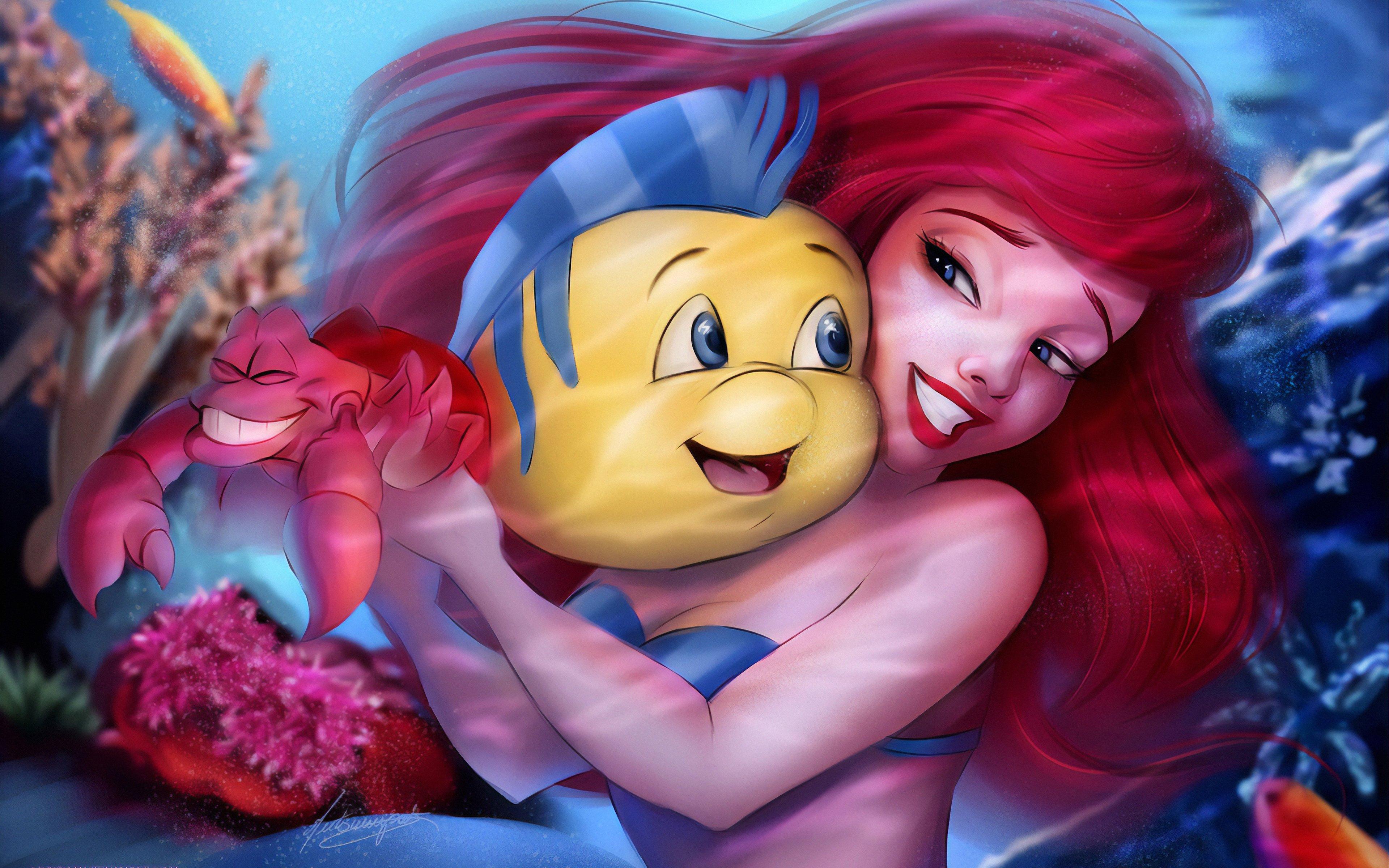 Fondos de pantalla La Sirenita con Flounder
