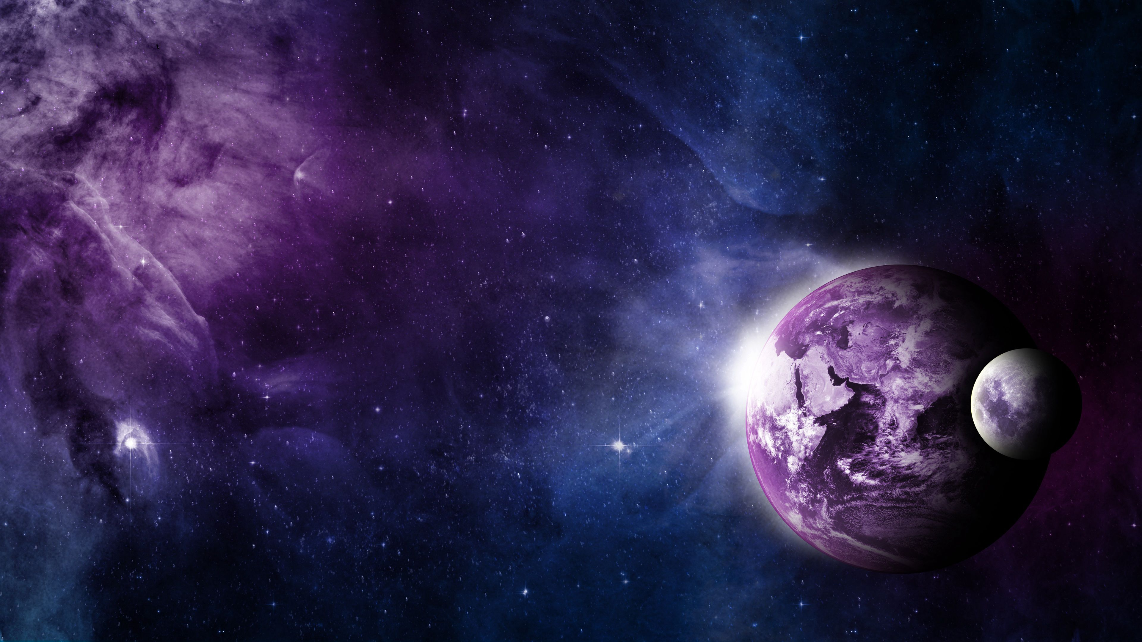 Wallpaper Earth and moon in space
