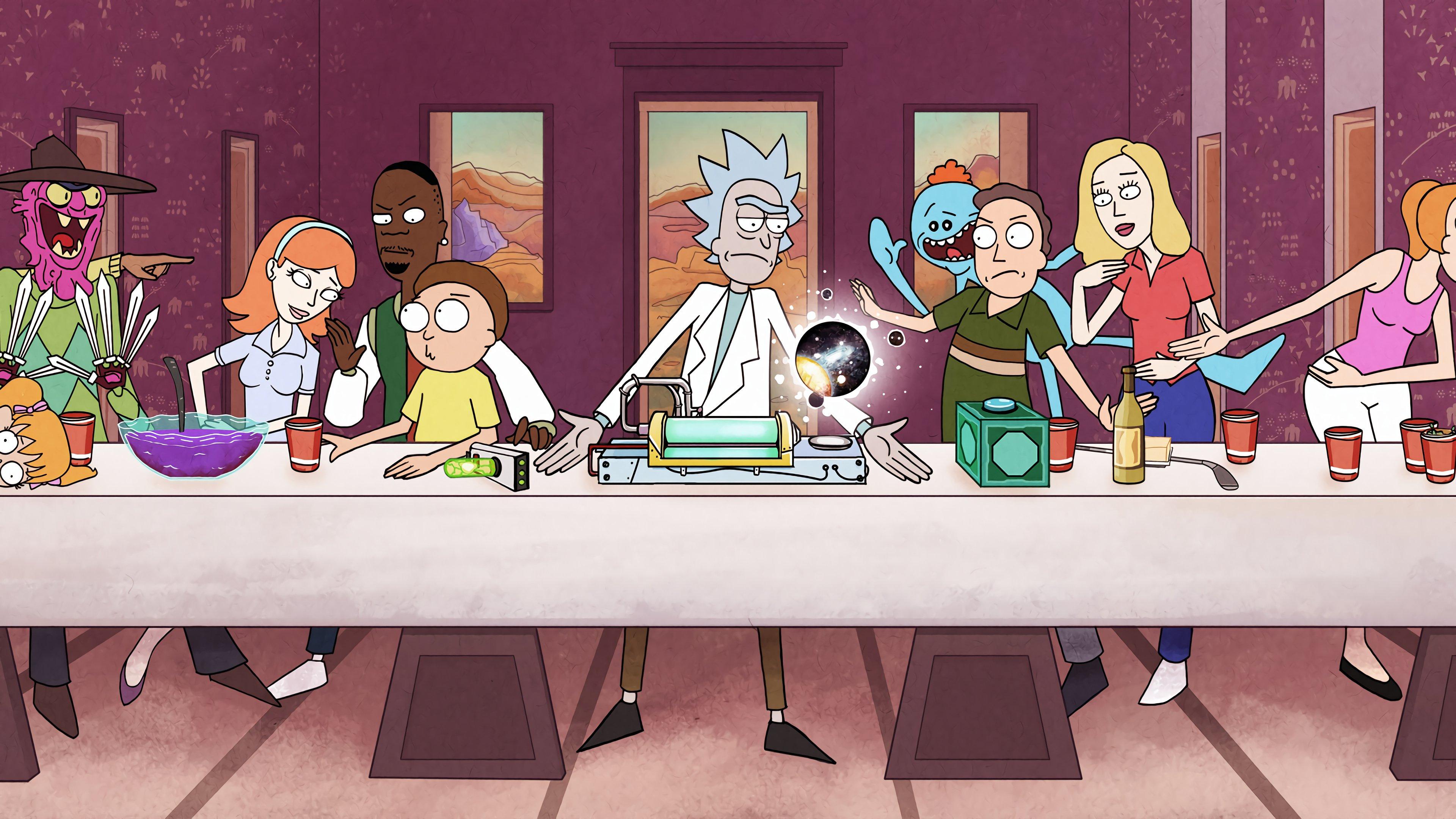 Fondos de pantalla La ultima cena de Rick y Morty