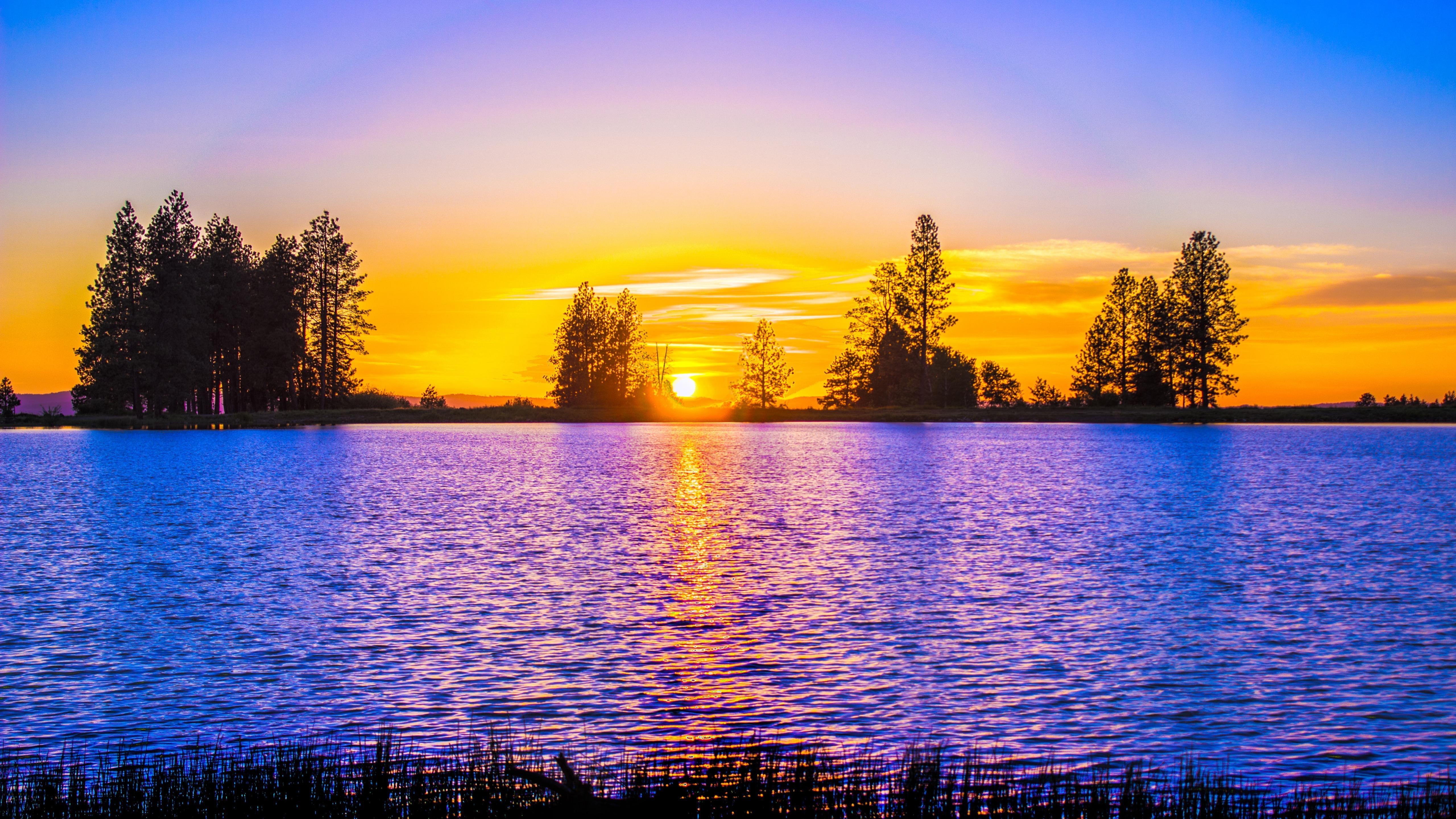 Fondos de pantalla Lago contra la puesta de sol