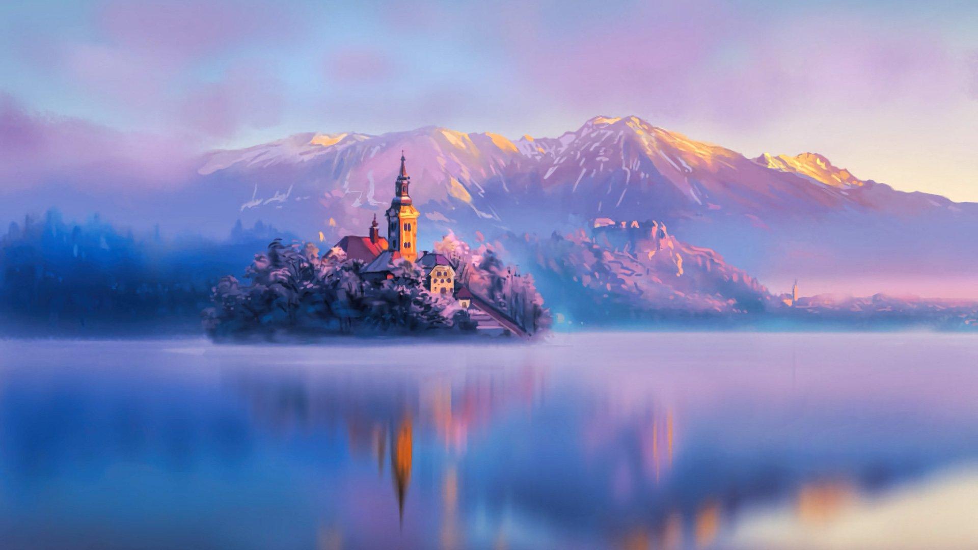 Wallpaper Lake in Slovenia at sunset Digital Art