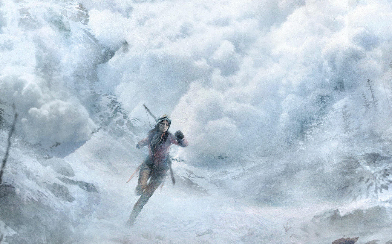 Wallpaper Lara Croft in fog