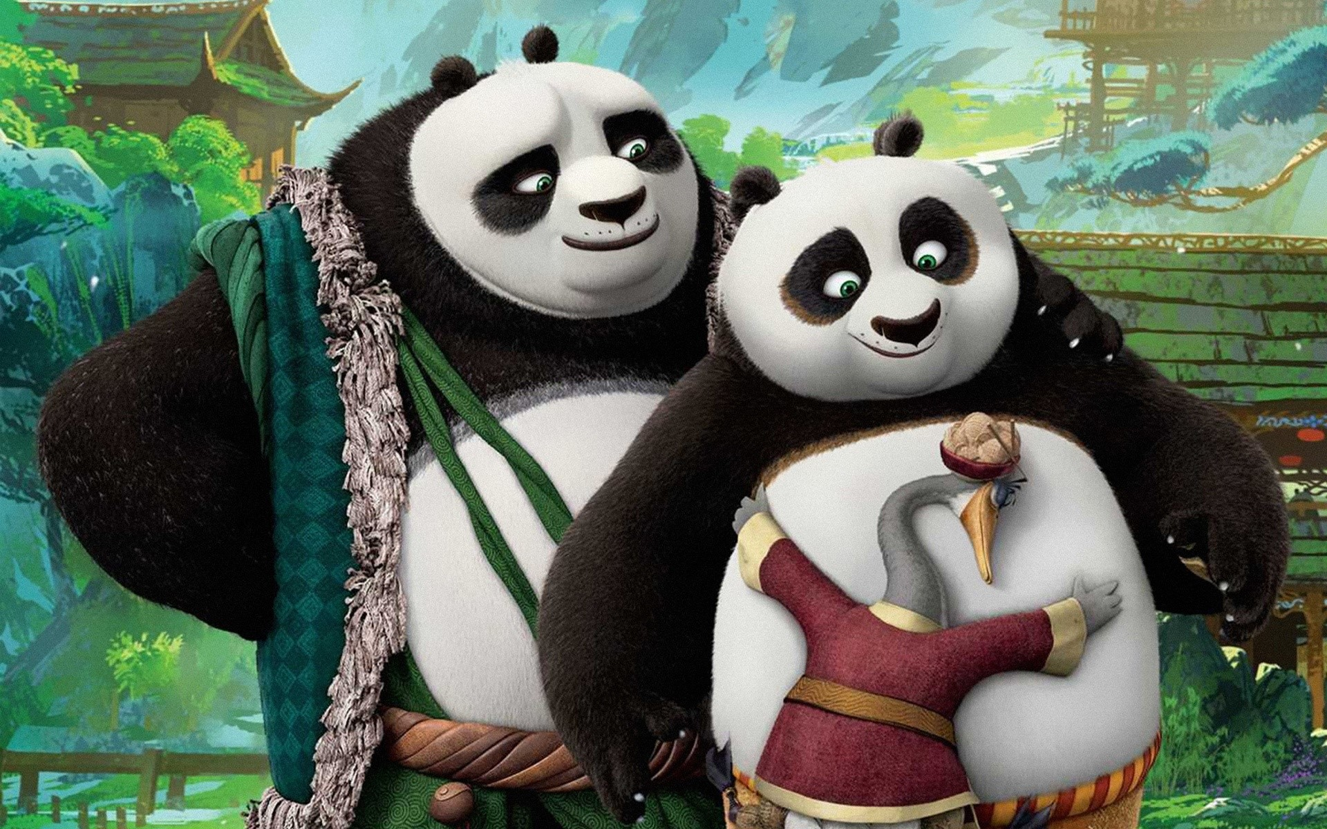 Wallpaper Li Shan and Po in Kung Fu panda 3