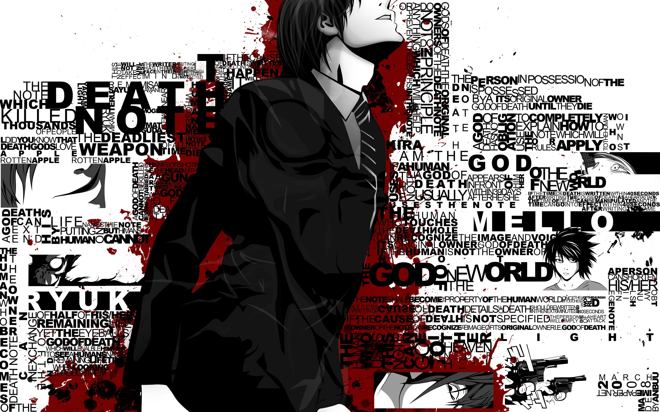 Fondos de pantalla Anime Light Yagami con letras - Death Note