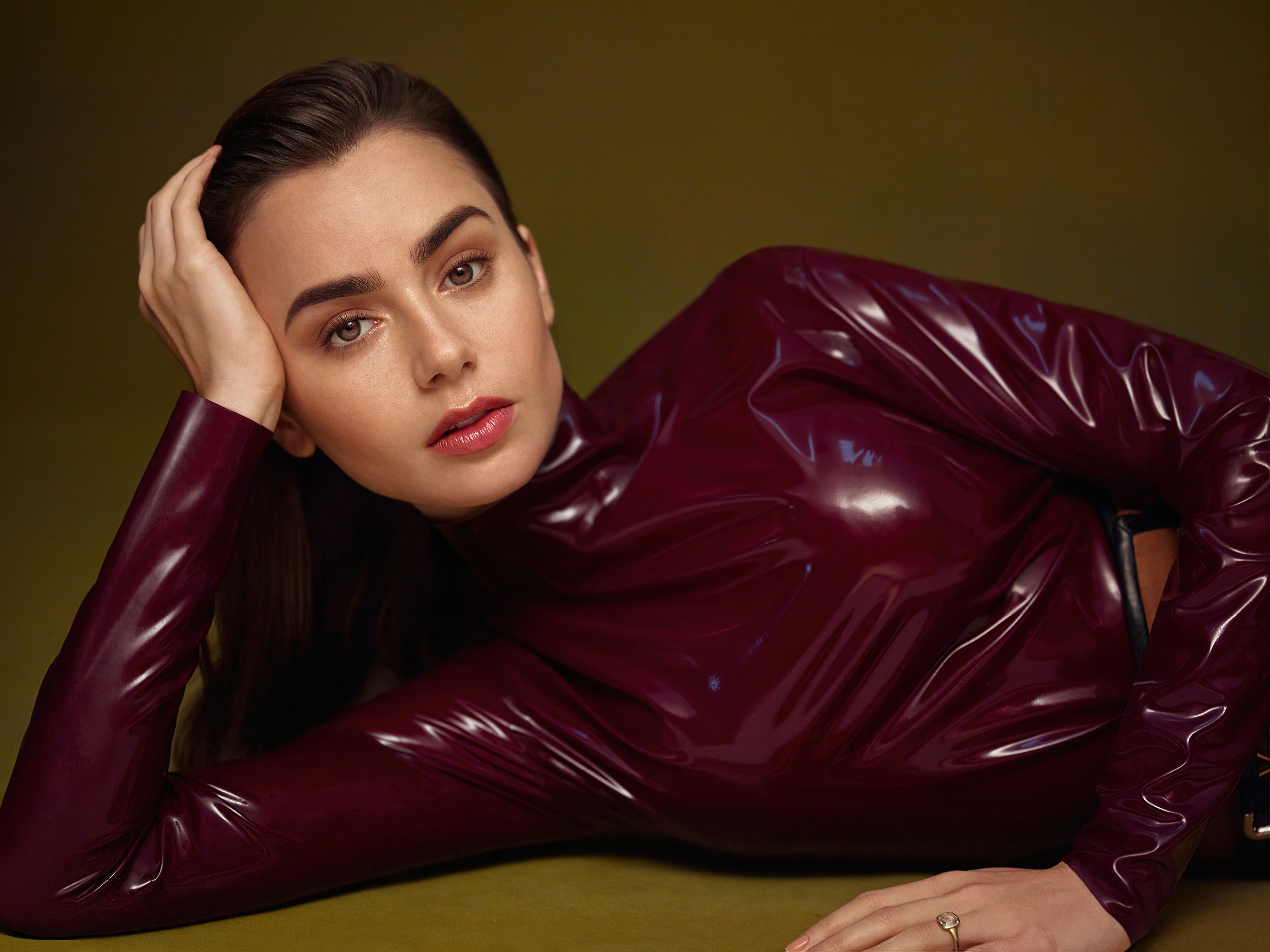Wallpaper Lily Collins for Vogue Arabia Cover
