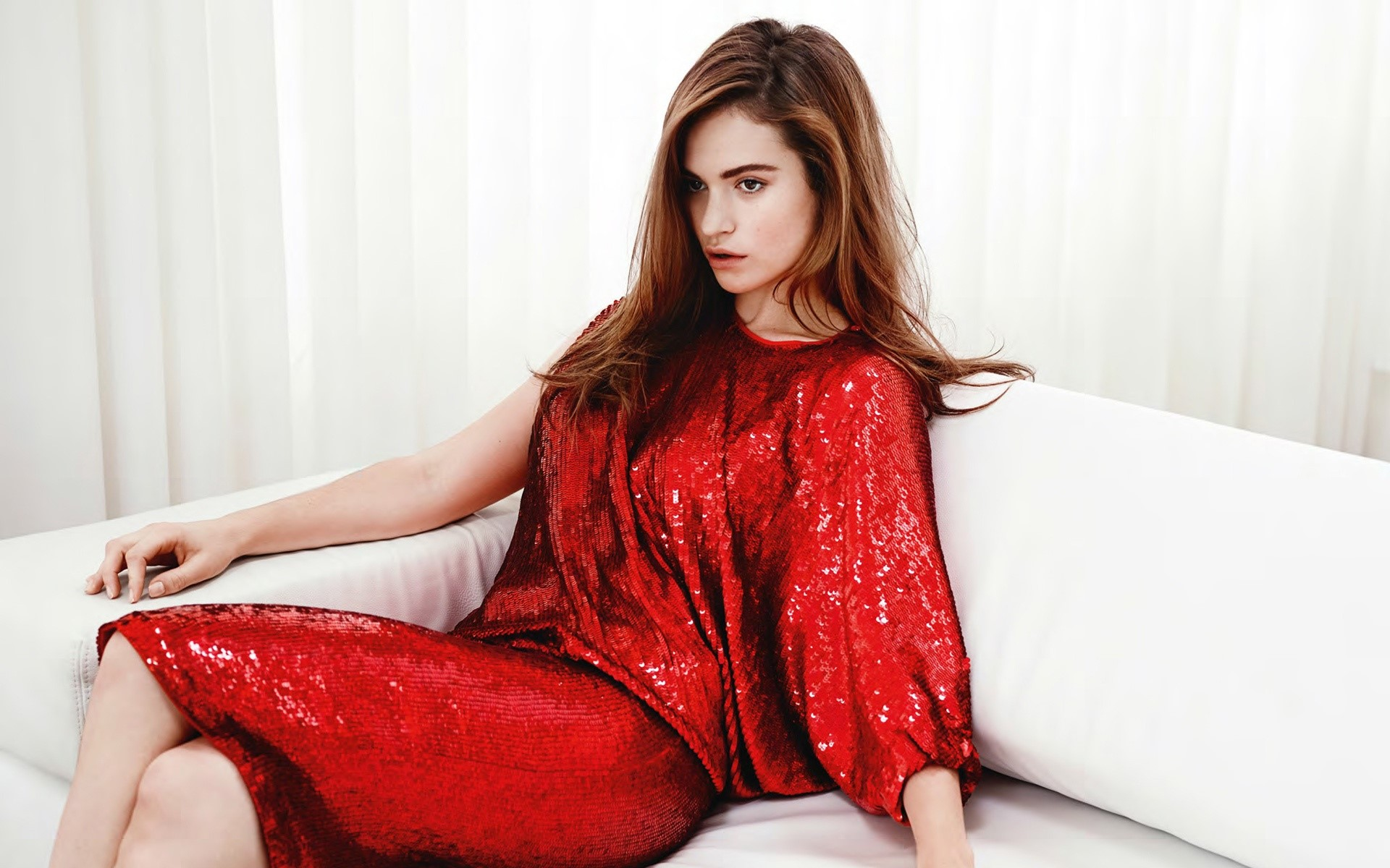 Wallpaper Lily James with red dress