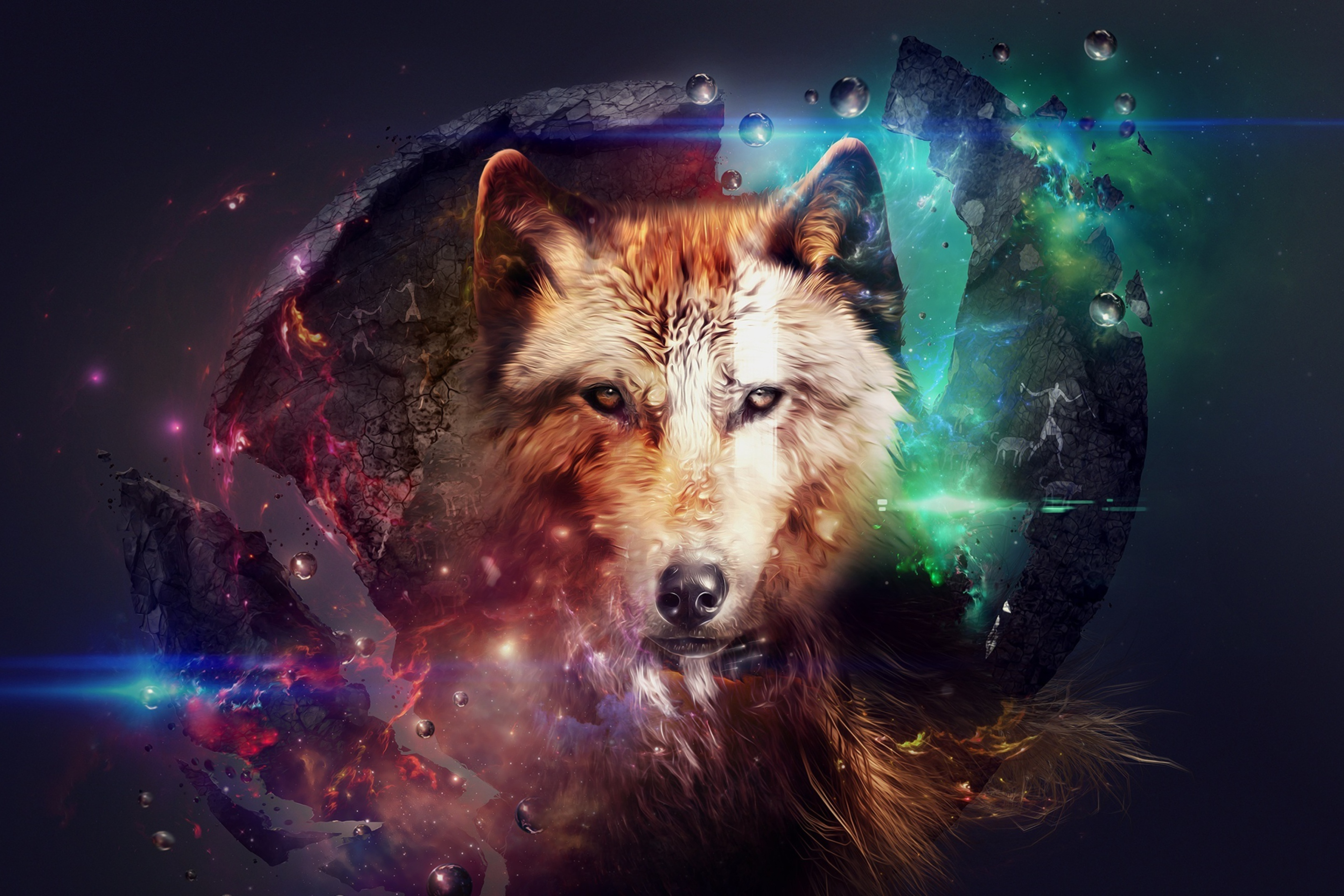 Wallpaper Lobo con luces de colores