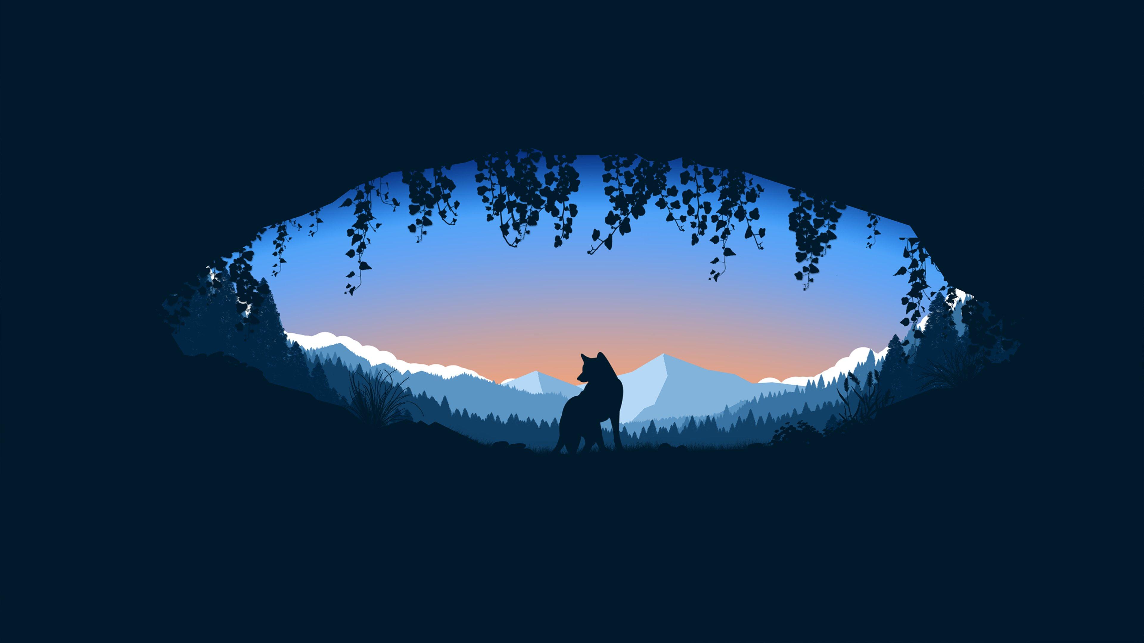 Fondos de pantalla Lobo en cueva sobre montañas