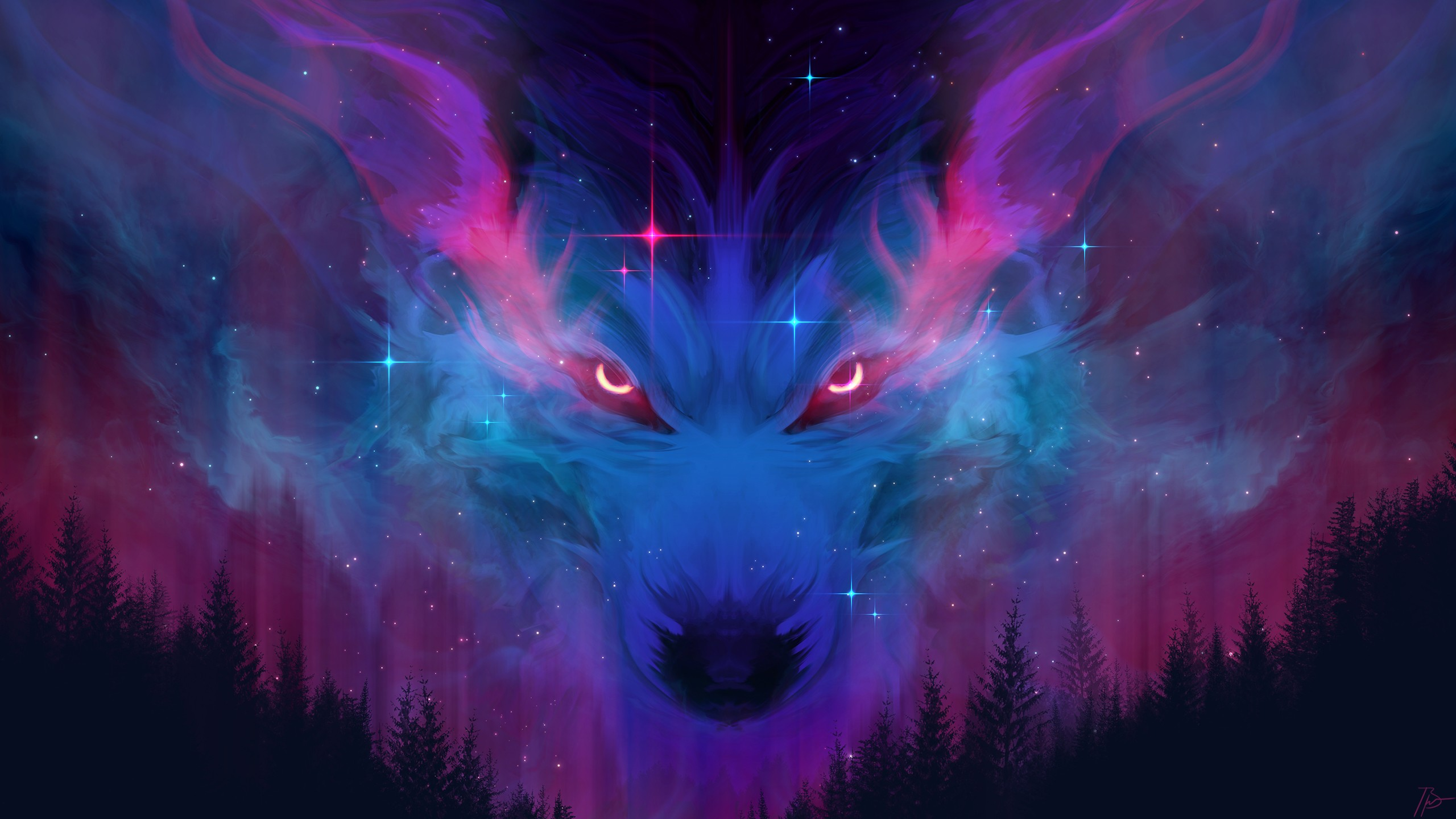 Wallpaper Wolf in the sky of forest