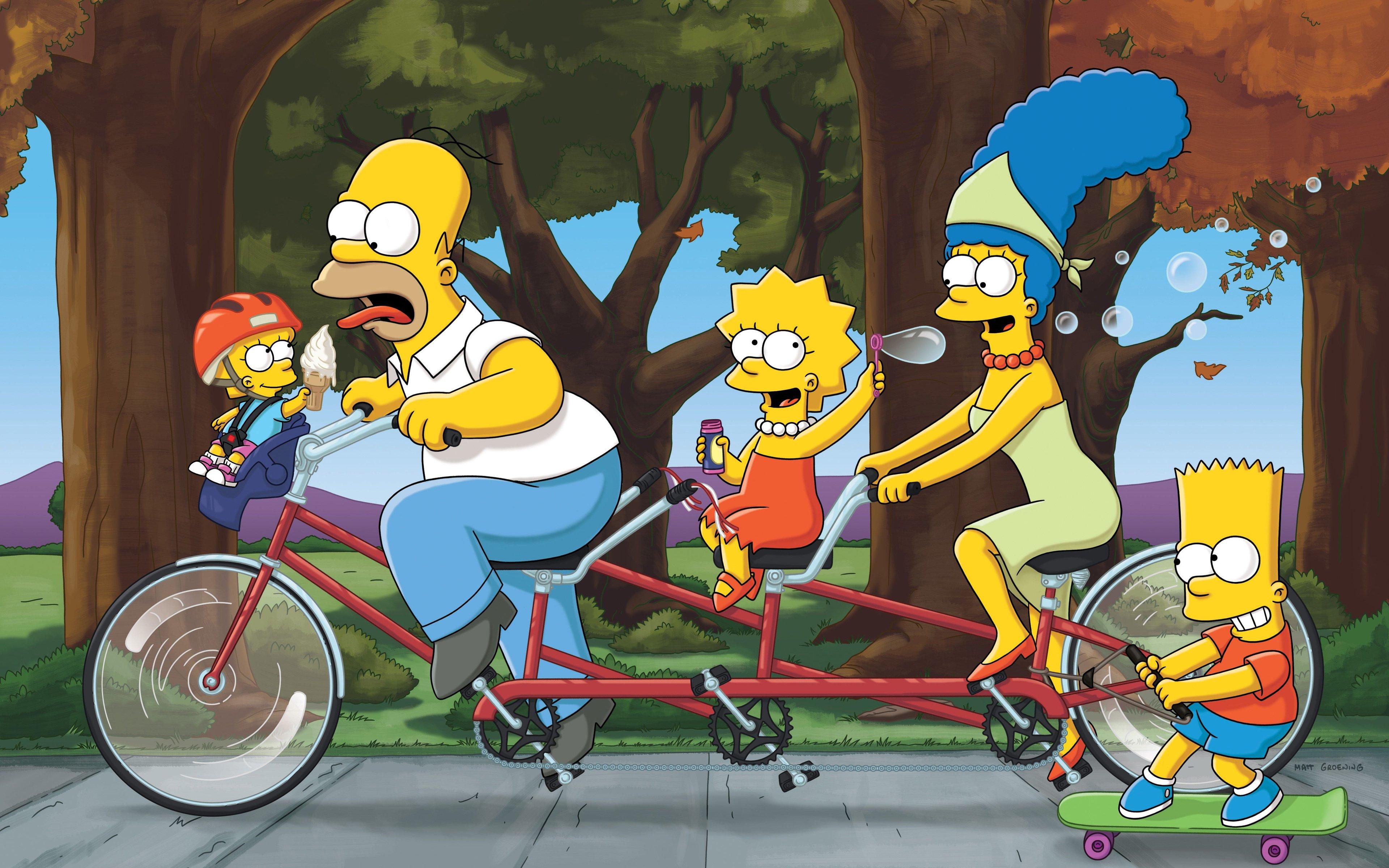 Fondos de pantalla Los Simpsons en bicicleta