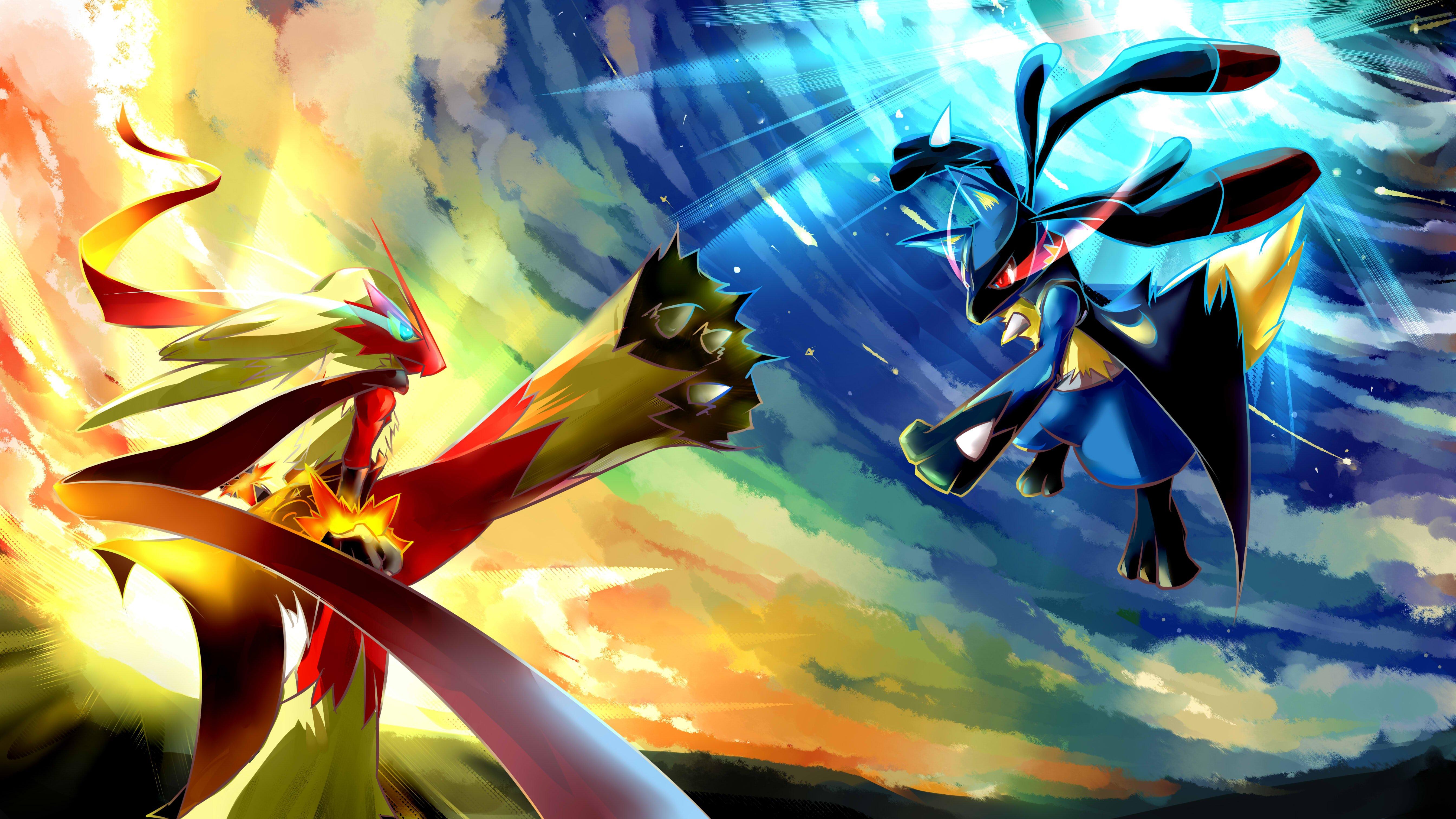 Fondos de pantalla Lucario vs Blaziken Pokémon