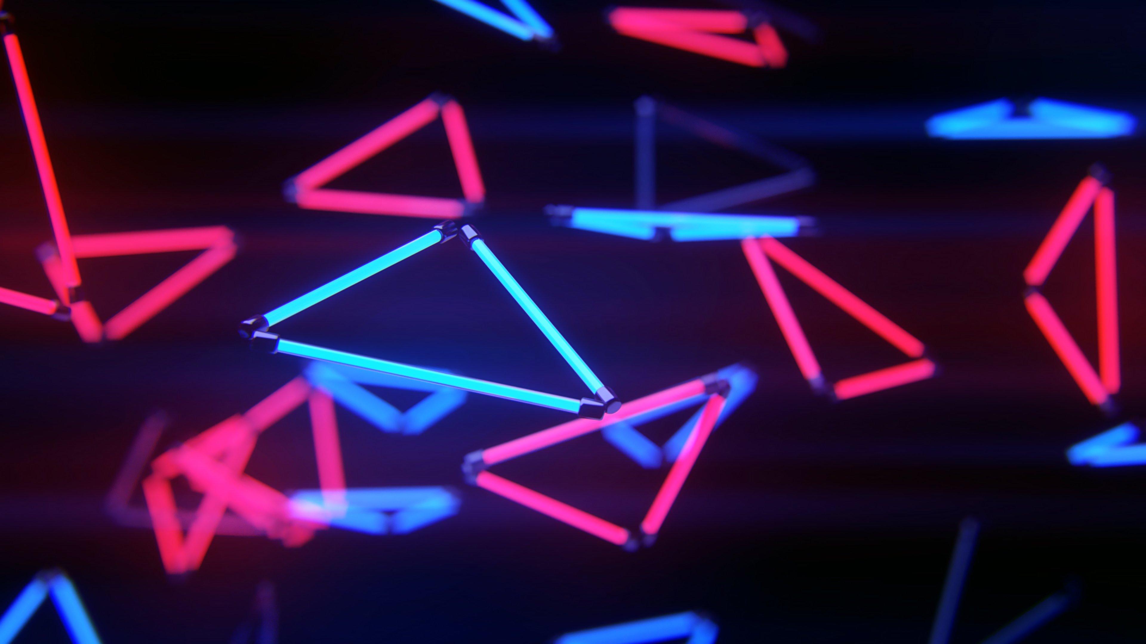 Fondos de pantalla Luces triangulares neón