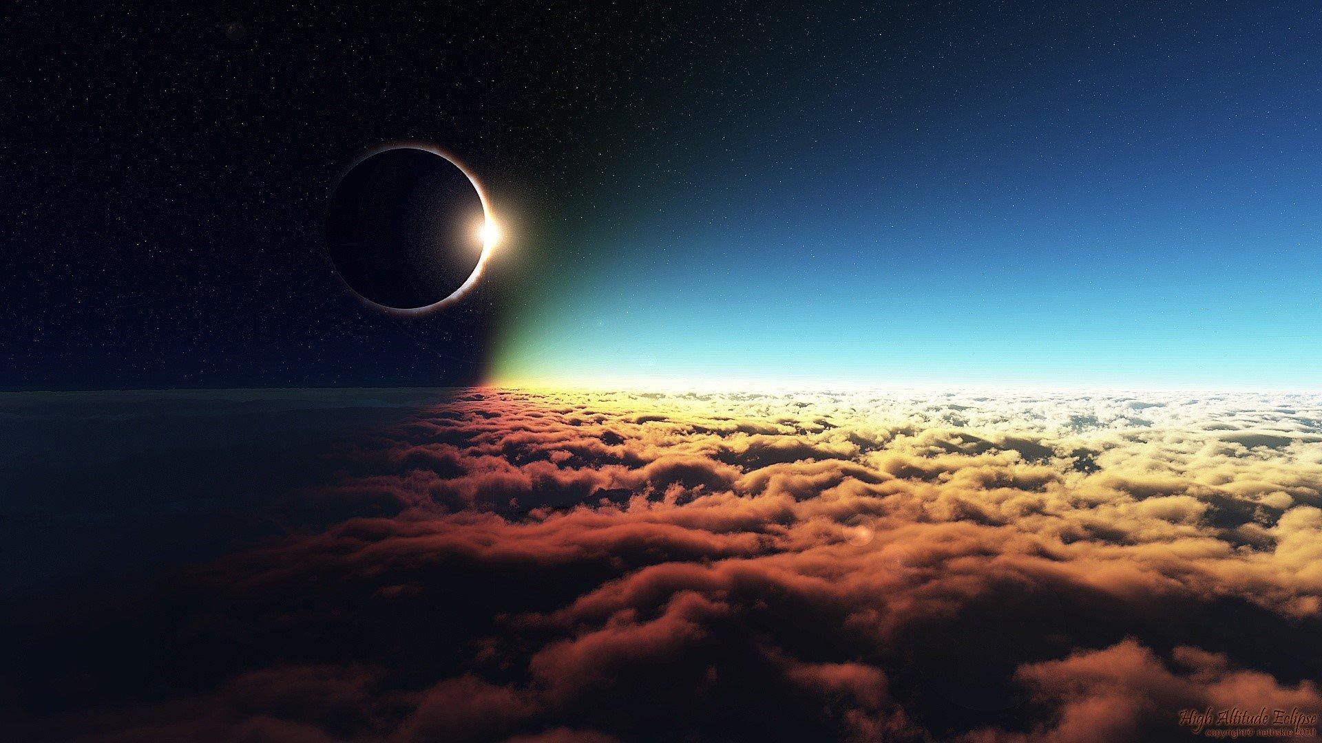 Fondos de pantalla Luna sobre las nubes