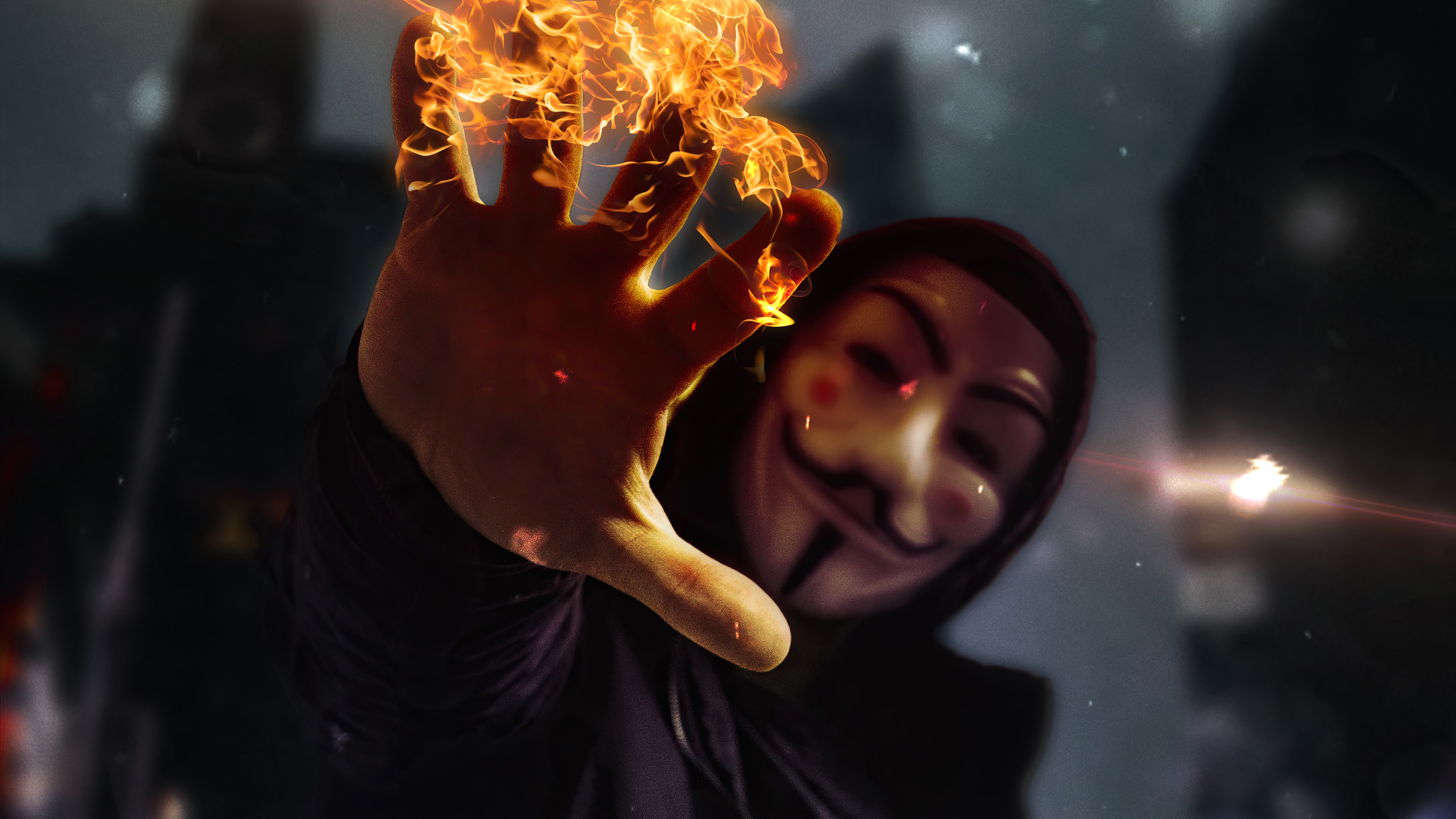 Wallpaper Anonymous mask with burning hand