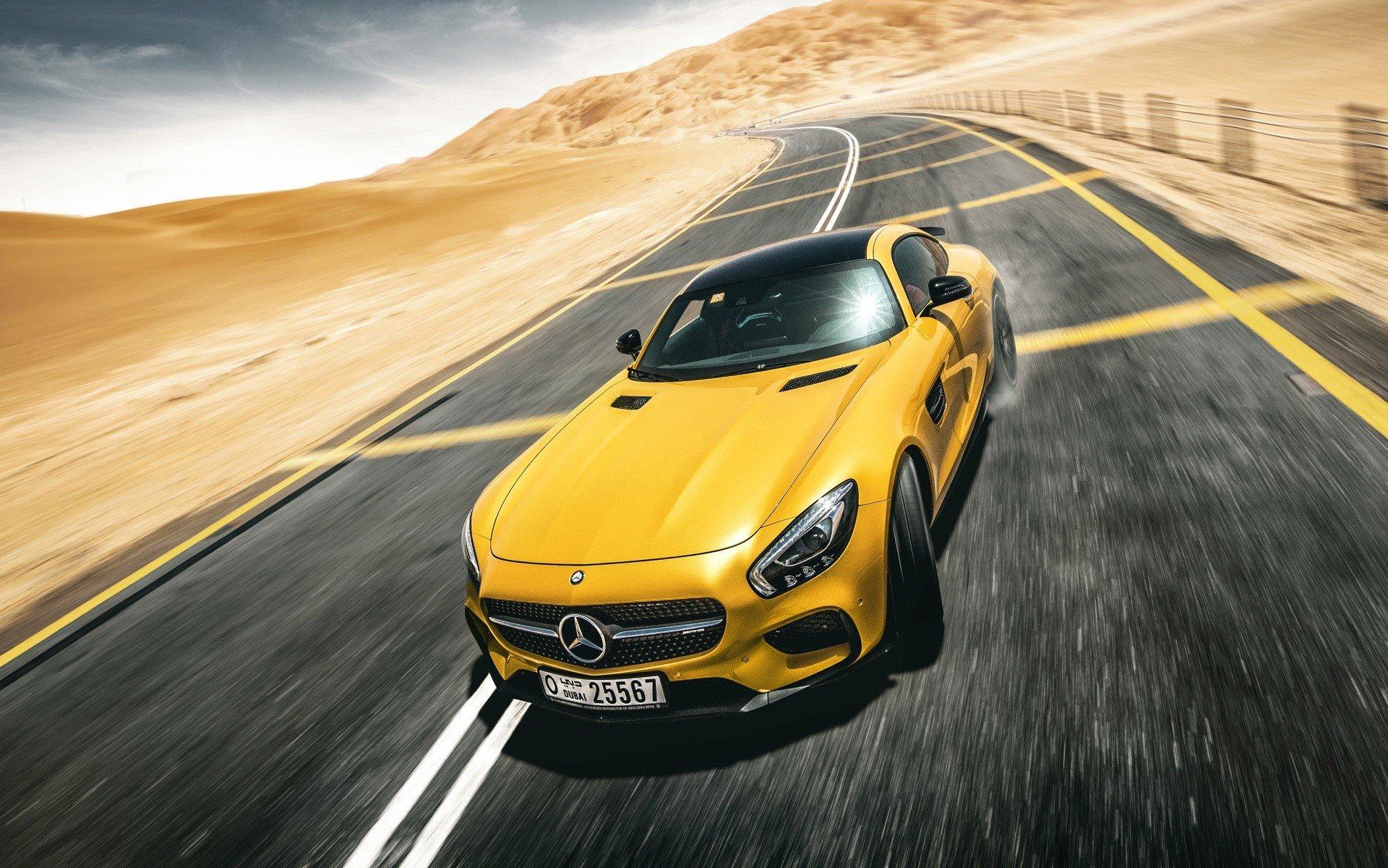 Wallpaper Mercedes Benz AMG GT S yellow