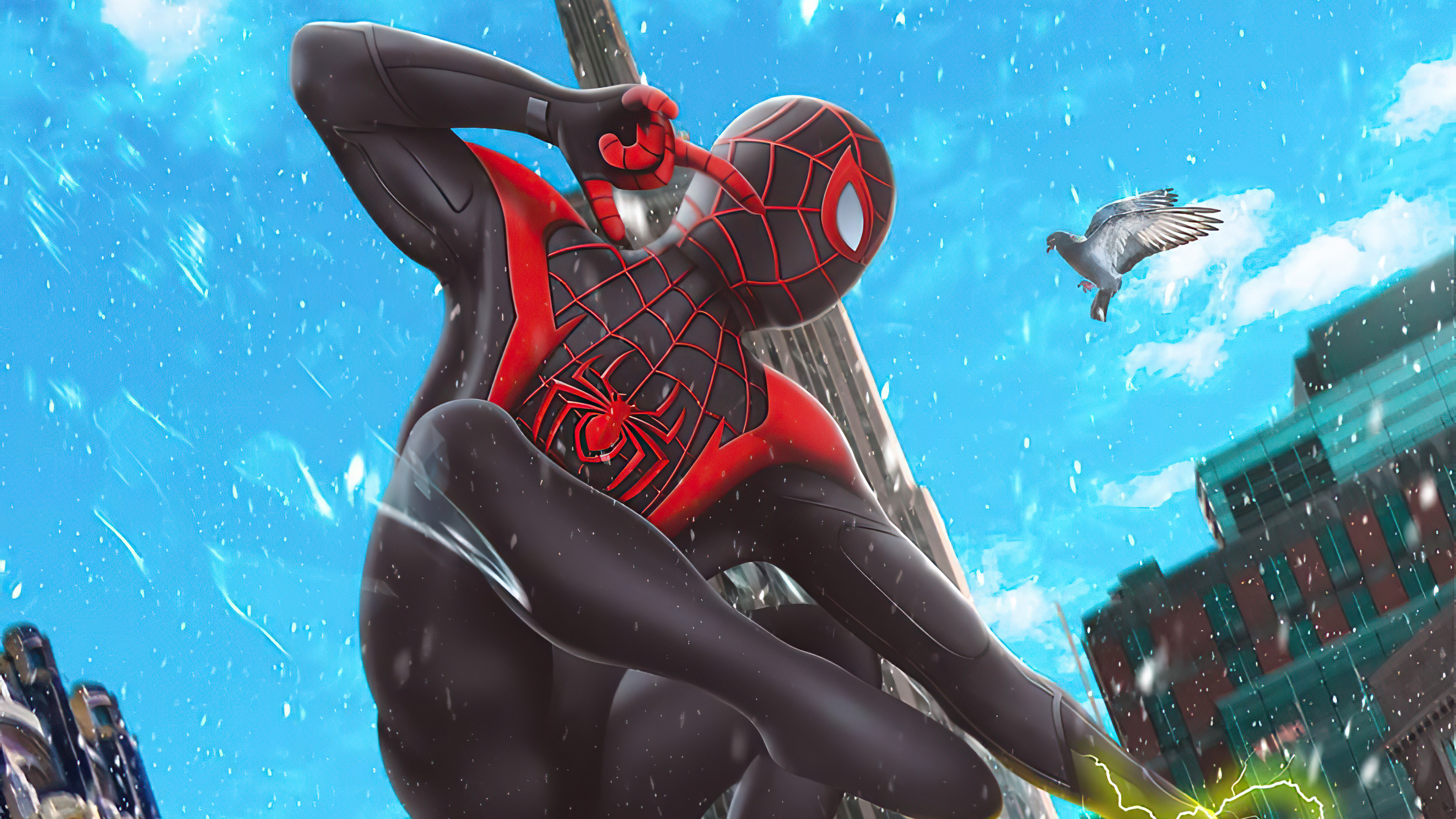 Wallpaper Miles Morales as Spiderman with black suit