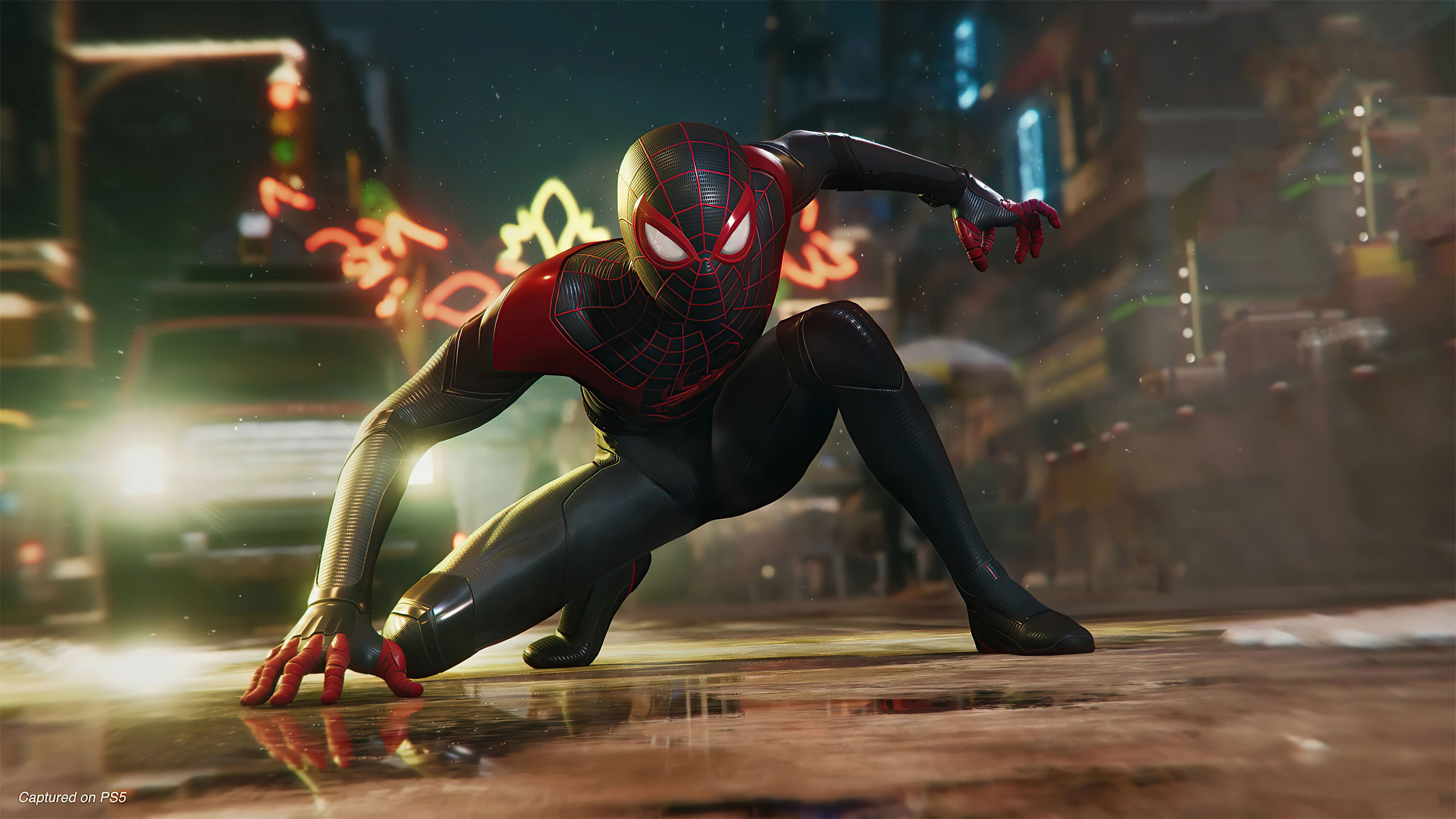 Wallpaper Miles Morales as Spiderman in the city