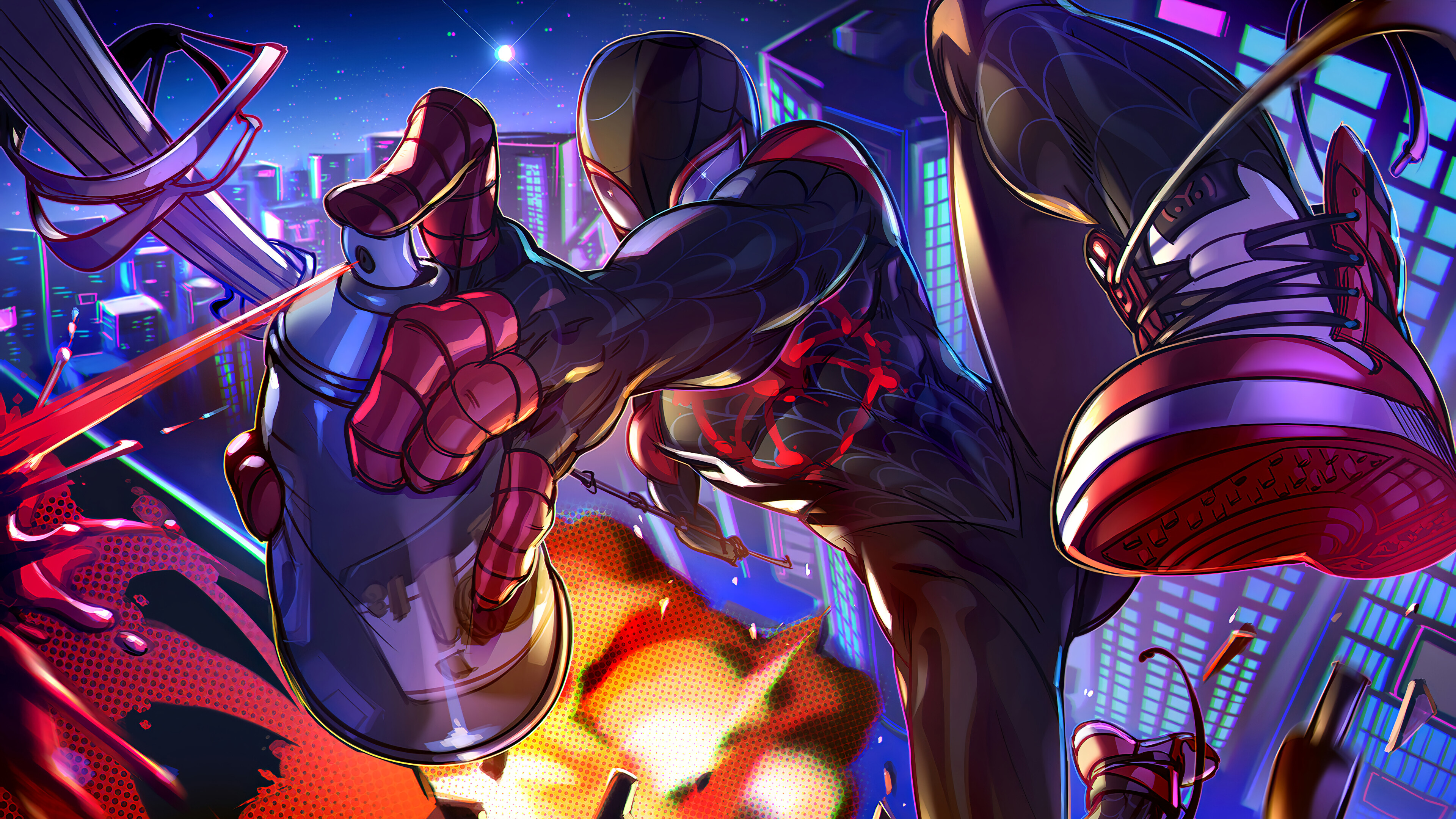 Wallpaper Miles Morales Spiderman into the spiderverse Fanart