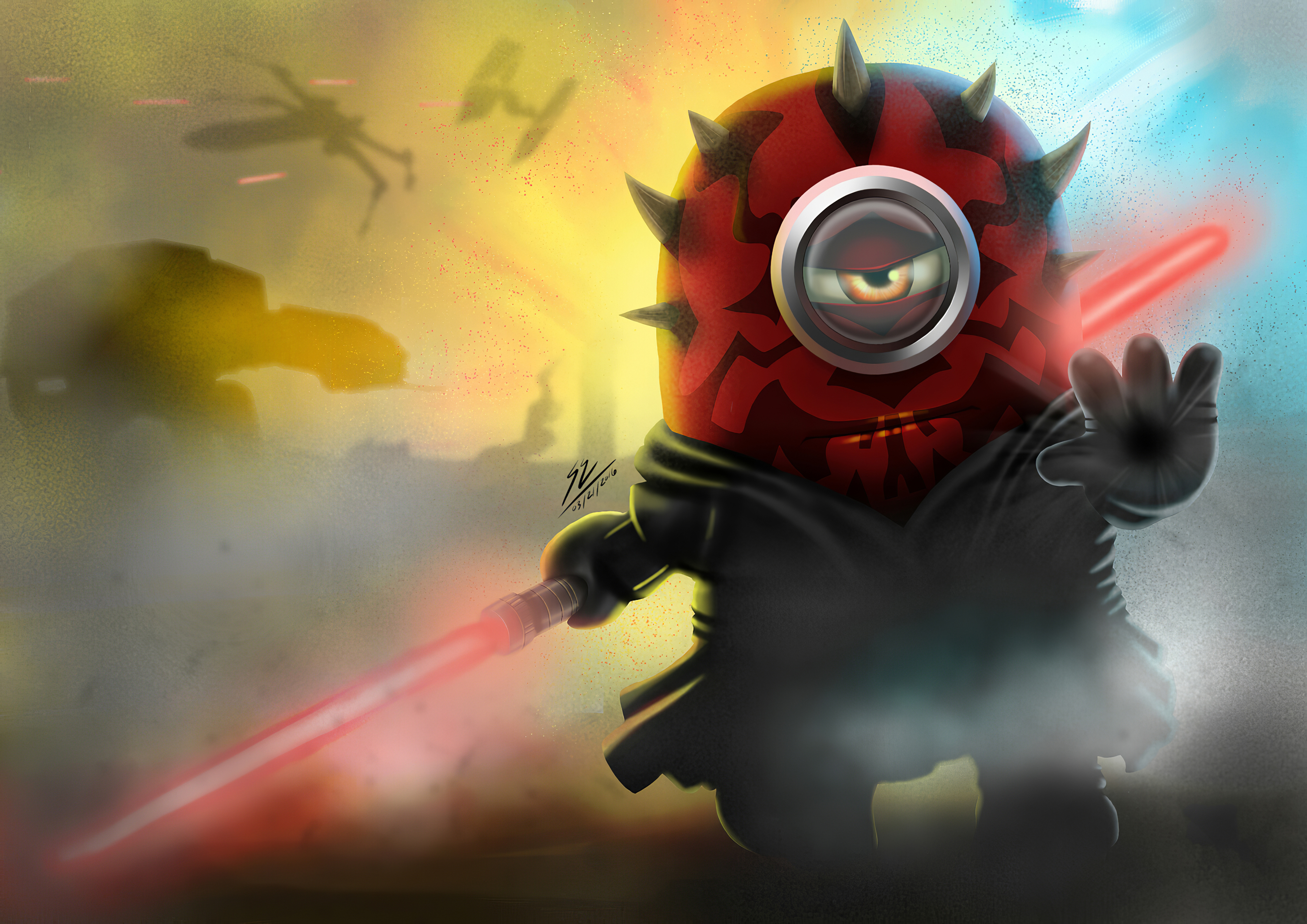 Fondos de pantalla Minion como Darth Maul de Star wars