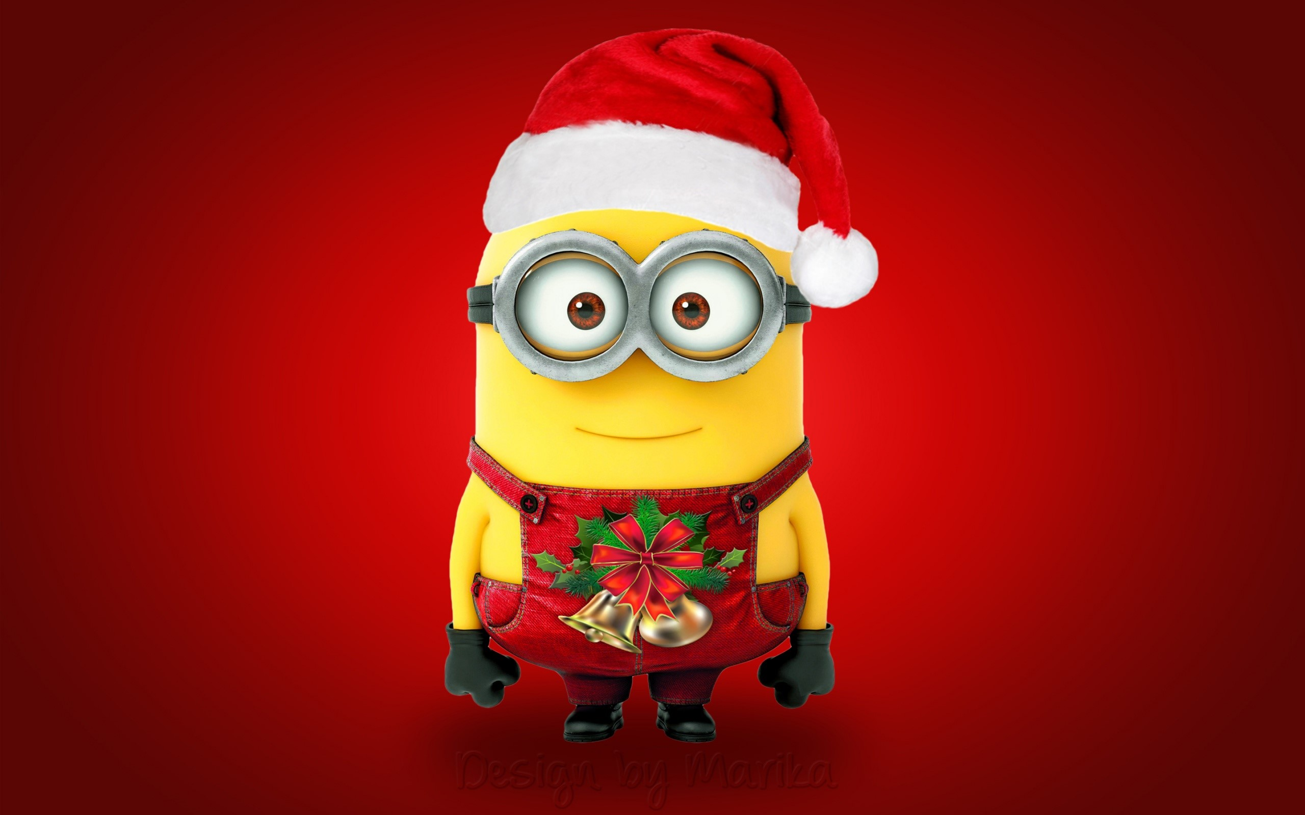 Wallpaper Minion as Santa