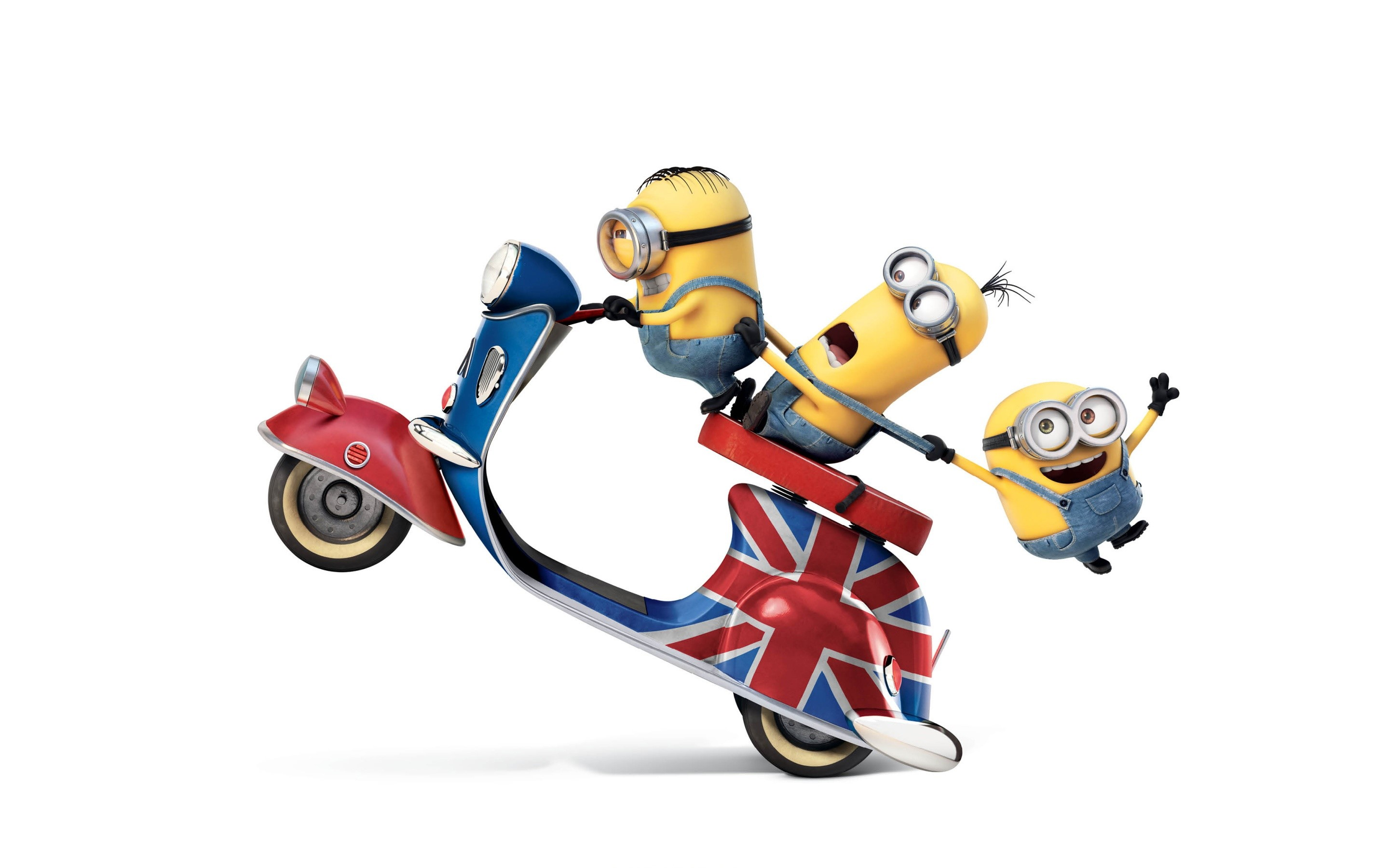 Wallpaper Minions in a British scooter
