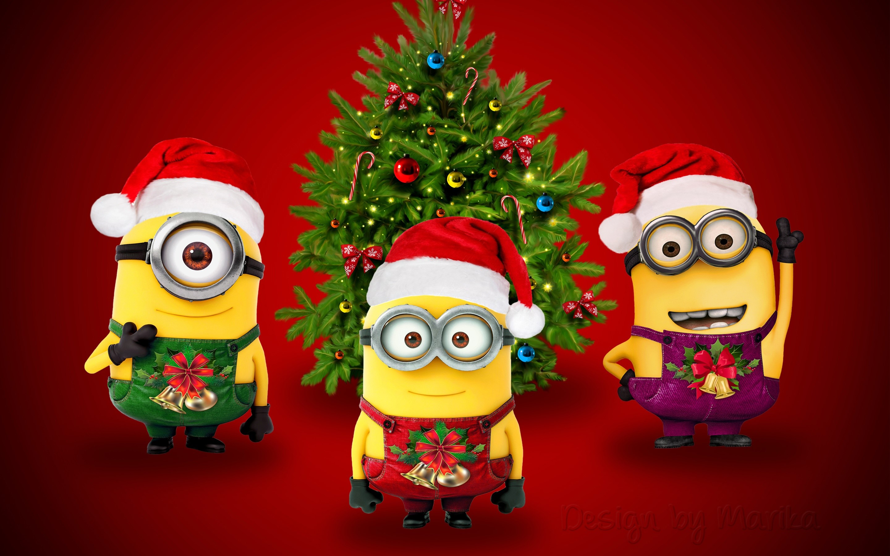 Wallpaper Minions dressed as Santa
