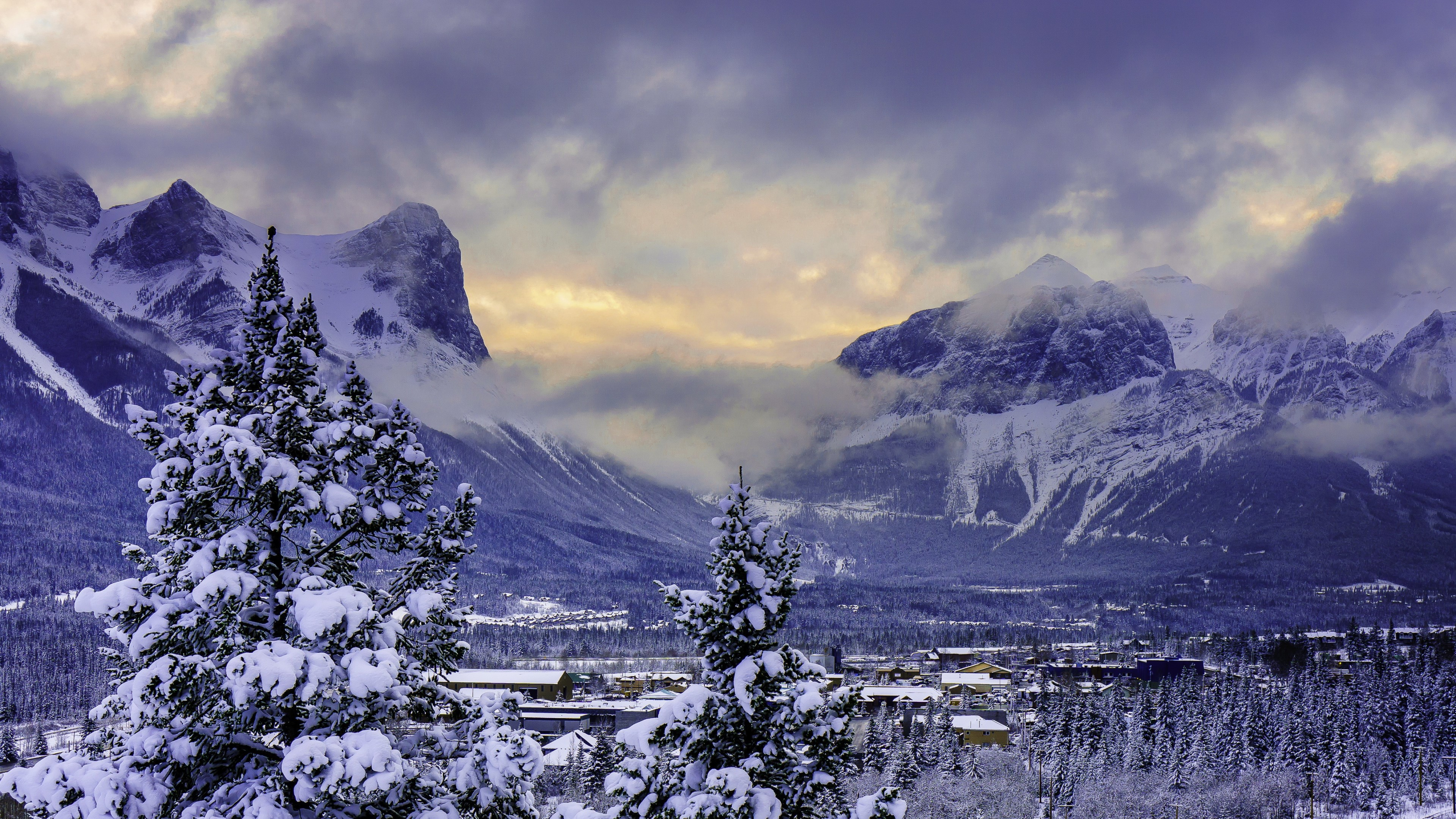 Wallpaper Alberta Banff Mountain in Winter