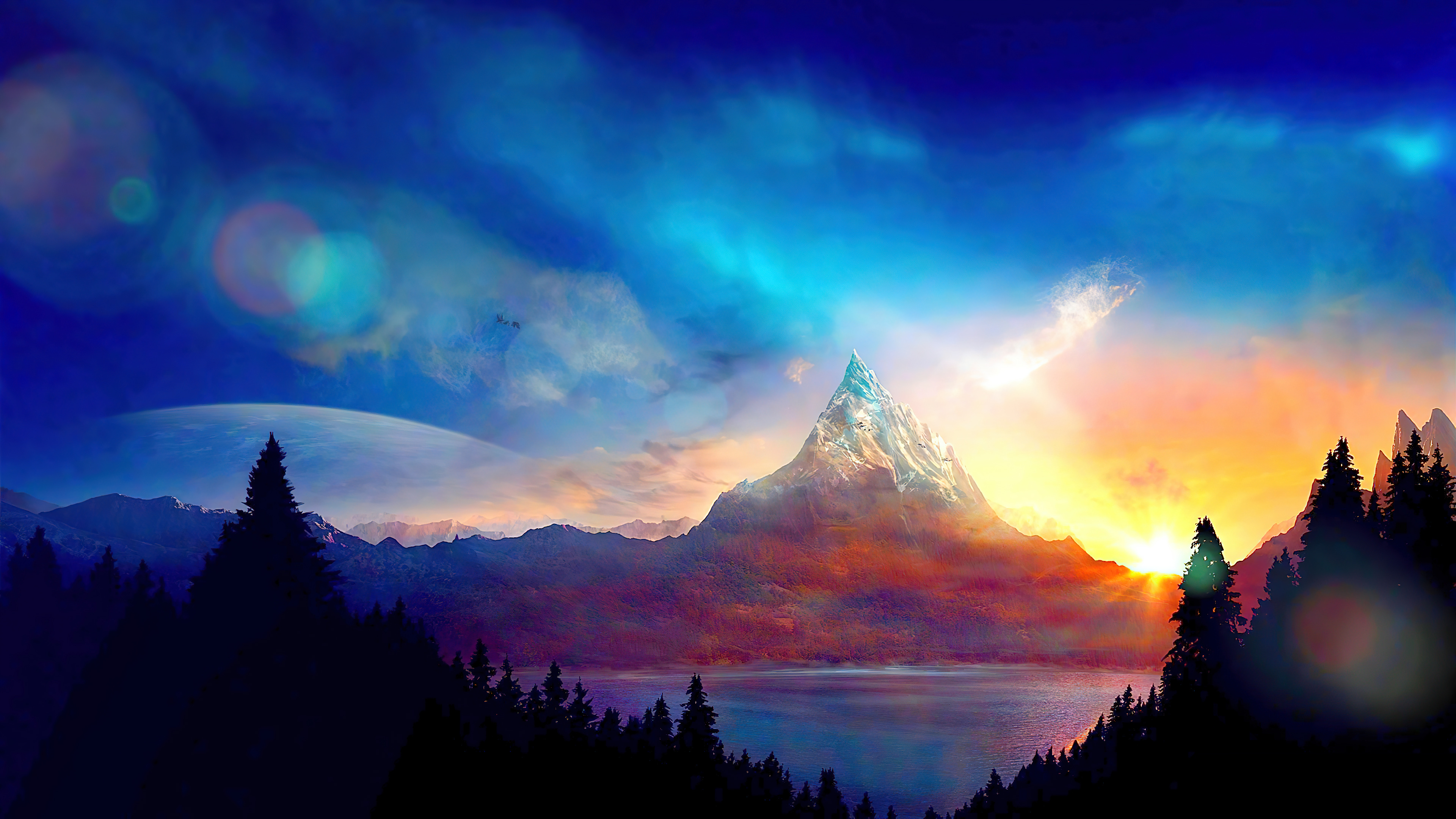 Fondos de pantalla Montaña colorida al atardecer