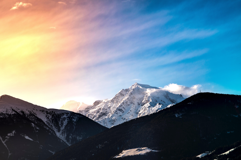Wallpaper Snow mountain in Sunset