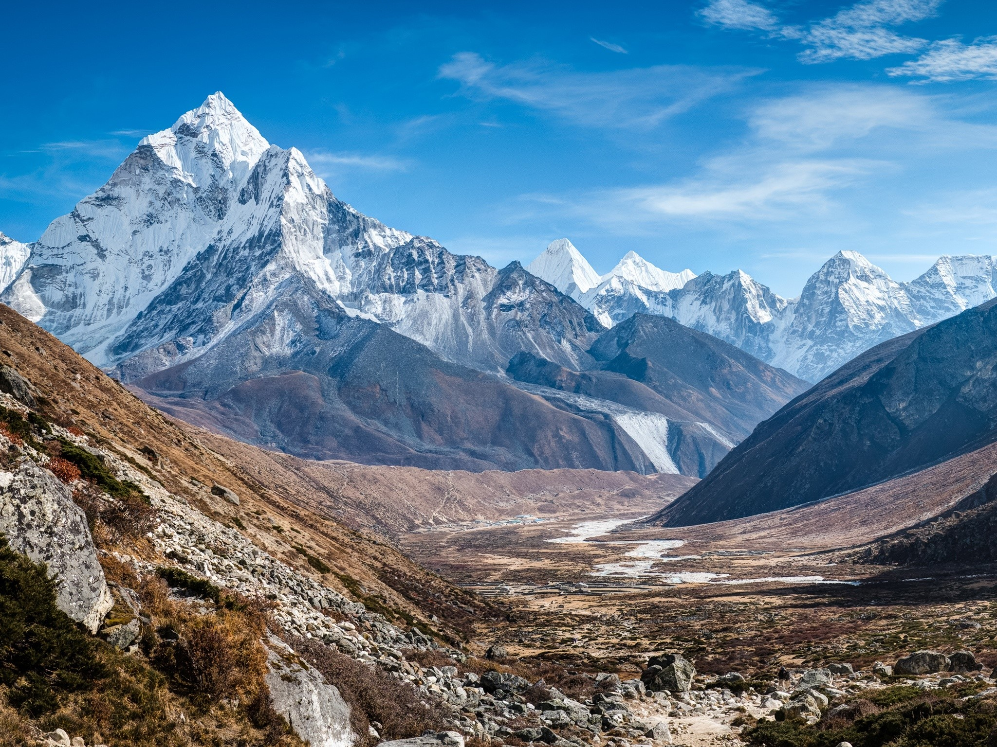 Wallpaper Ama Dablam mountains in the Himalayas
