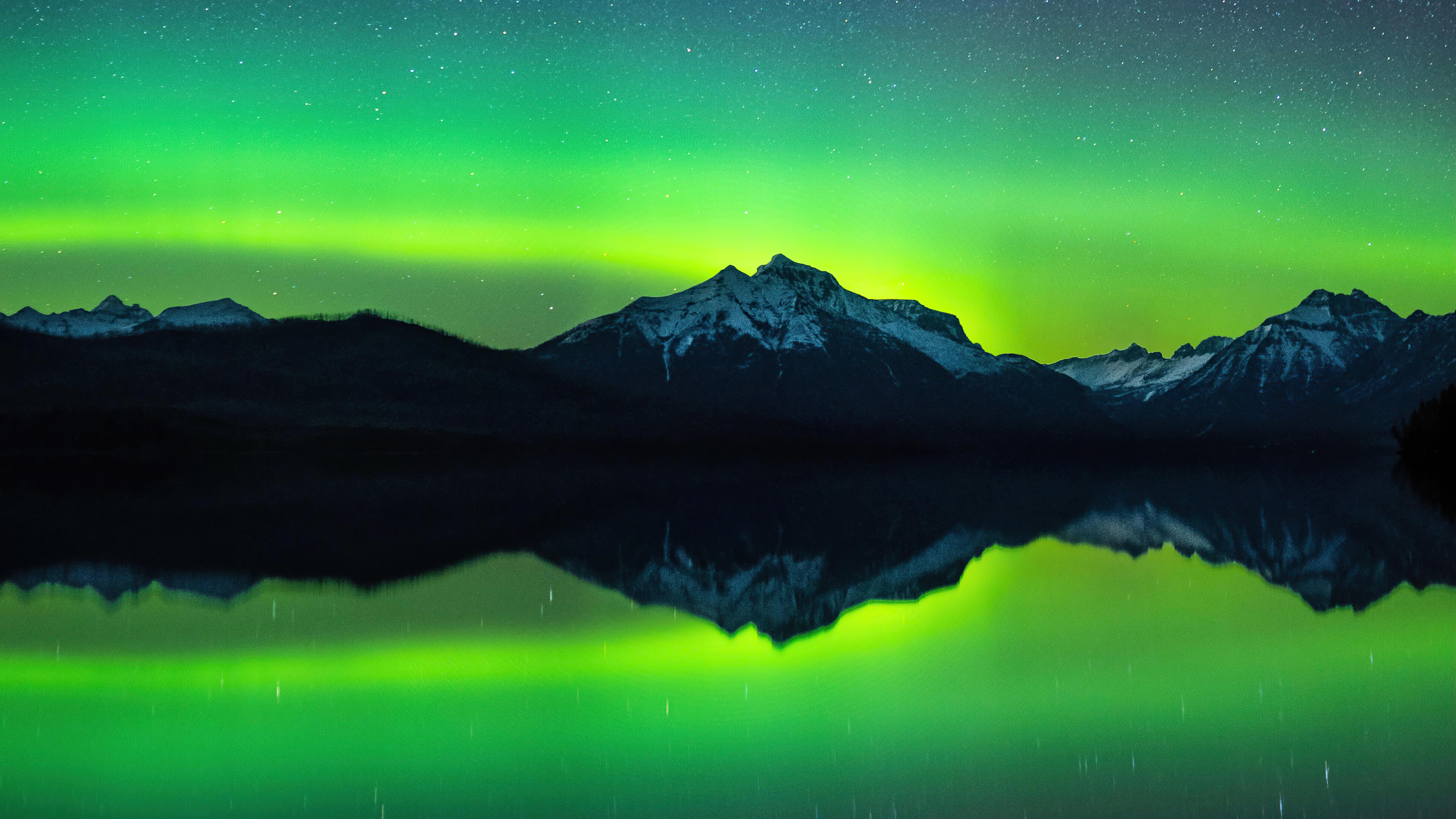 Wallpaper Mountains under green sky