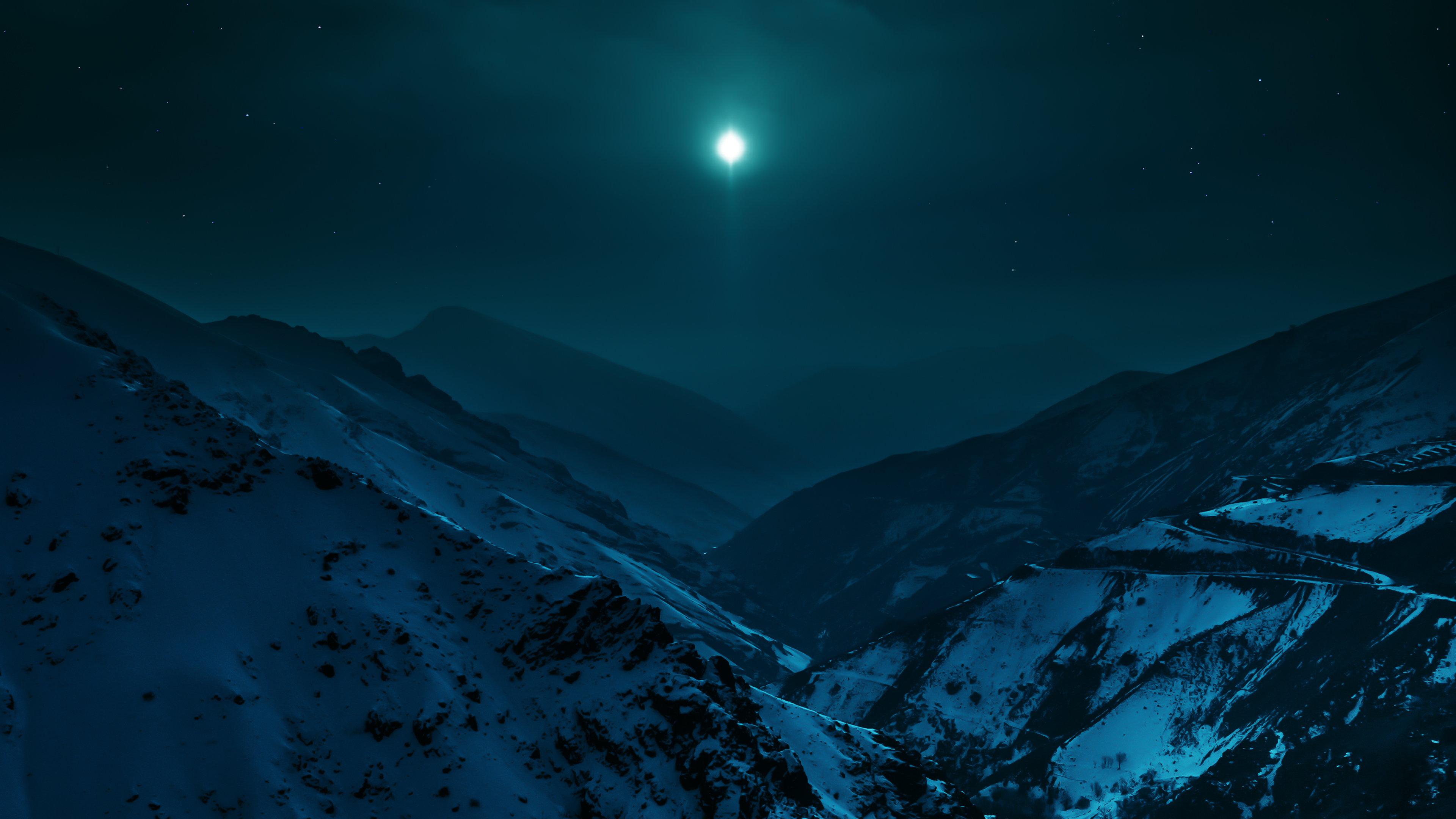 Wallpaper Mountains with moonlight