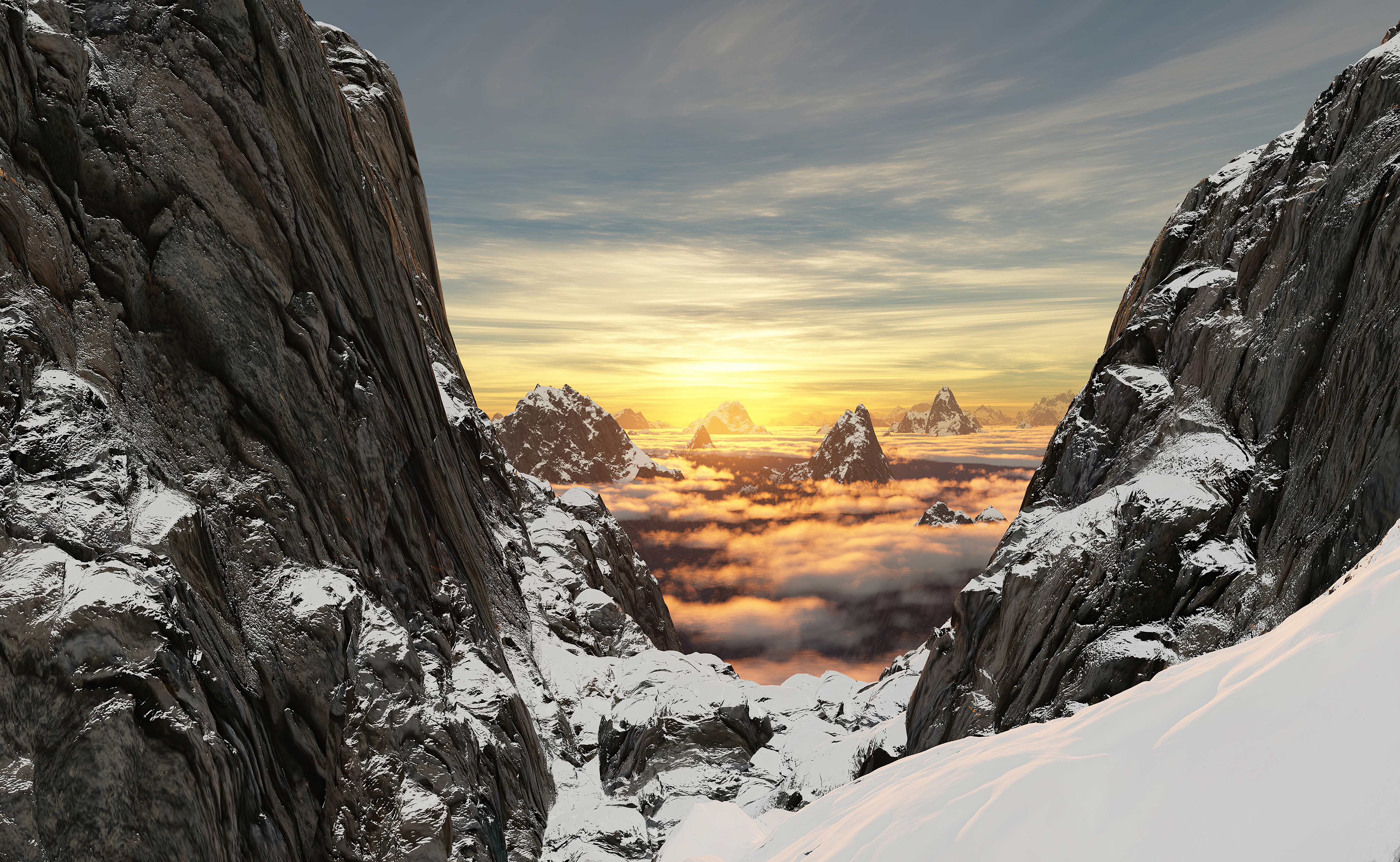 Wallpaper Mountains with snow at sunrise