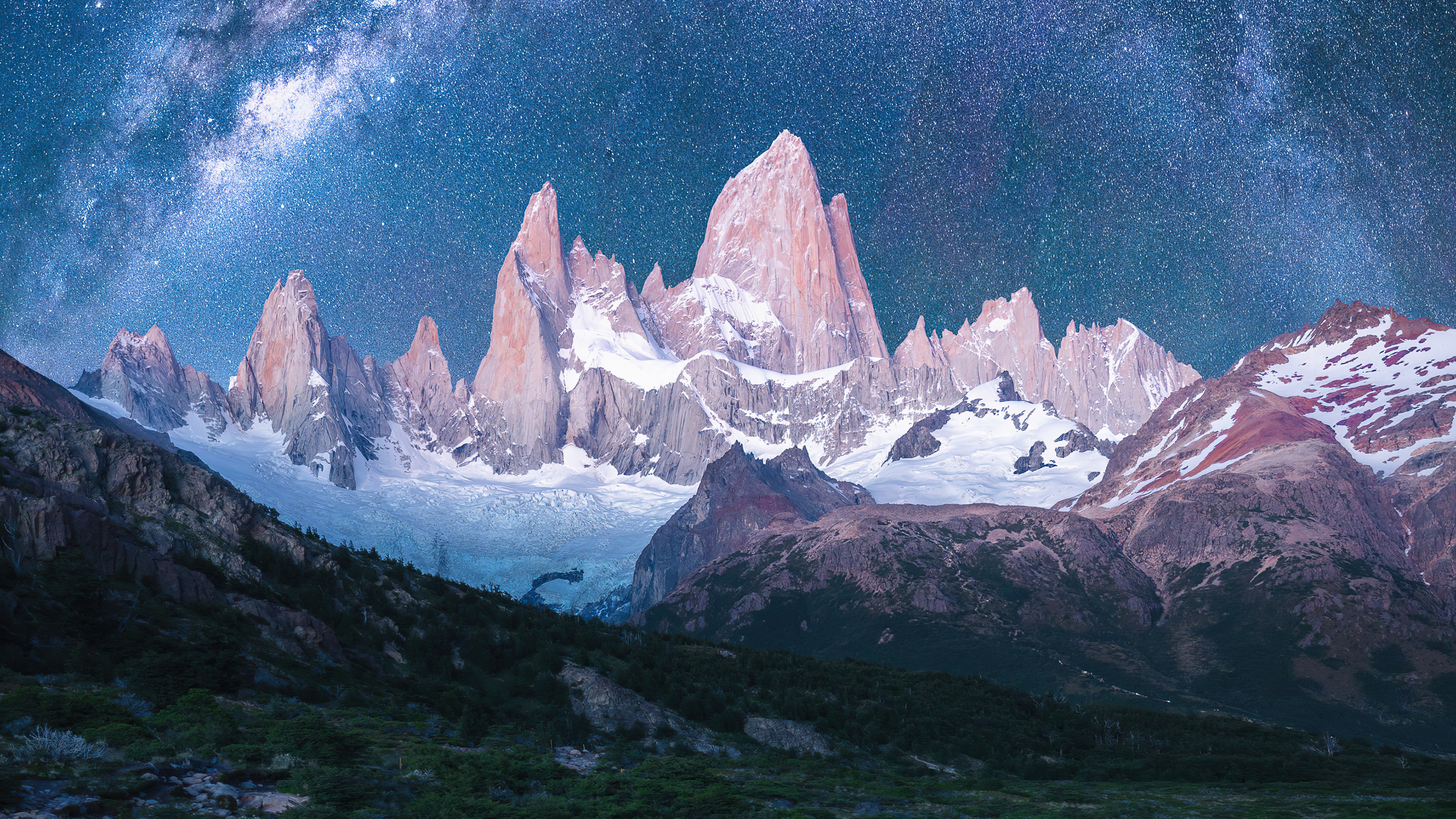 Wallpaper Mountains with snow under the stars
