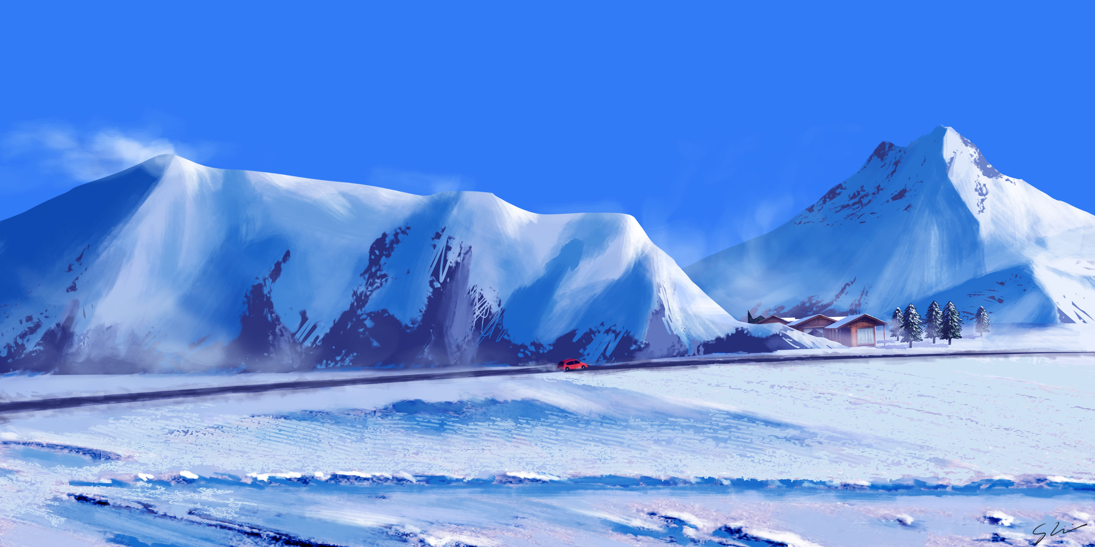 Wallpaper Mountains in the winter