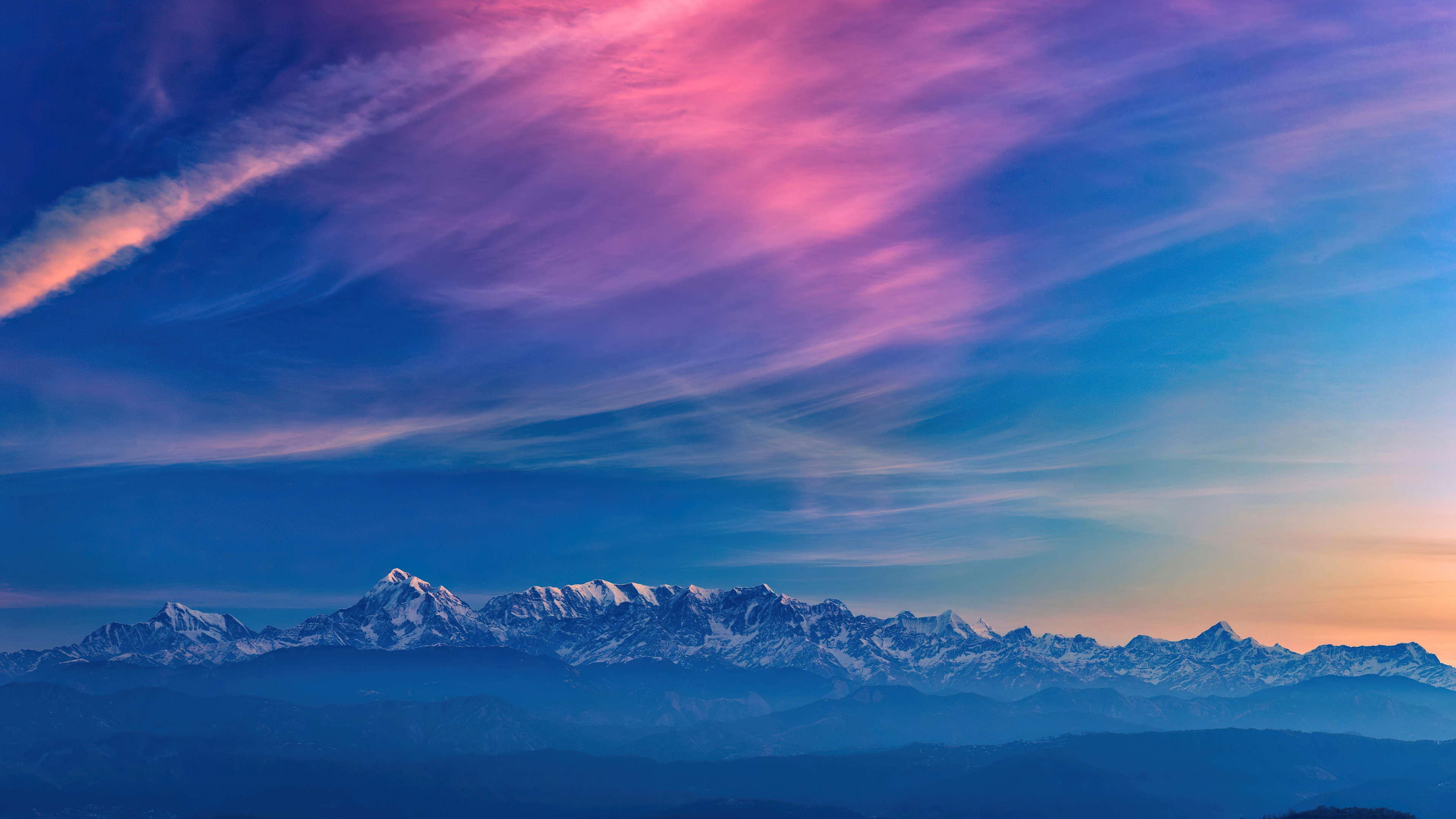 Wallpaper Mountains in colorful sunset