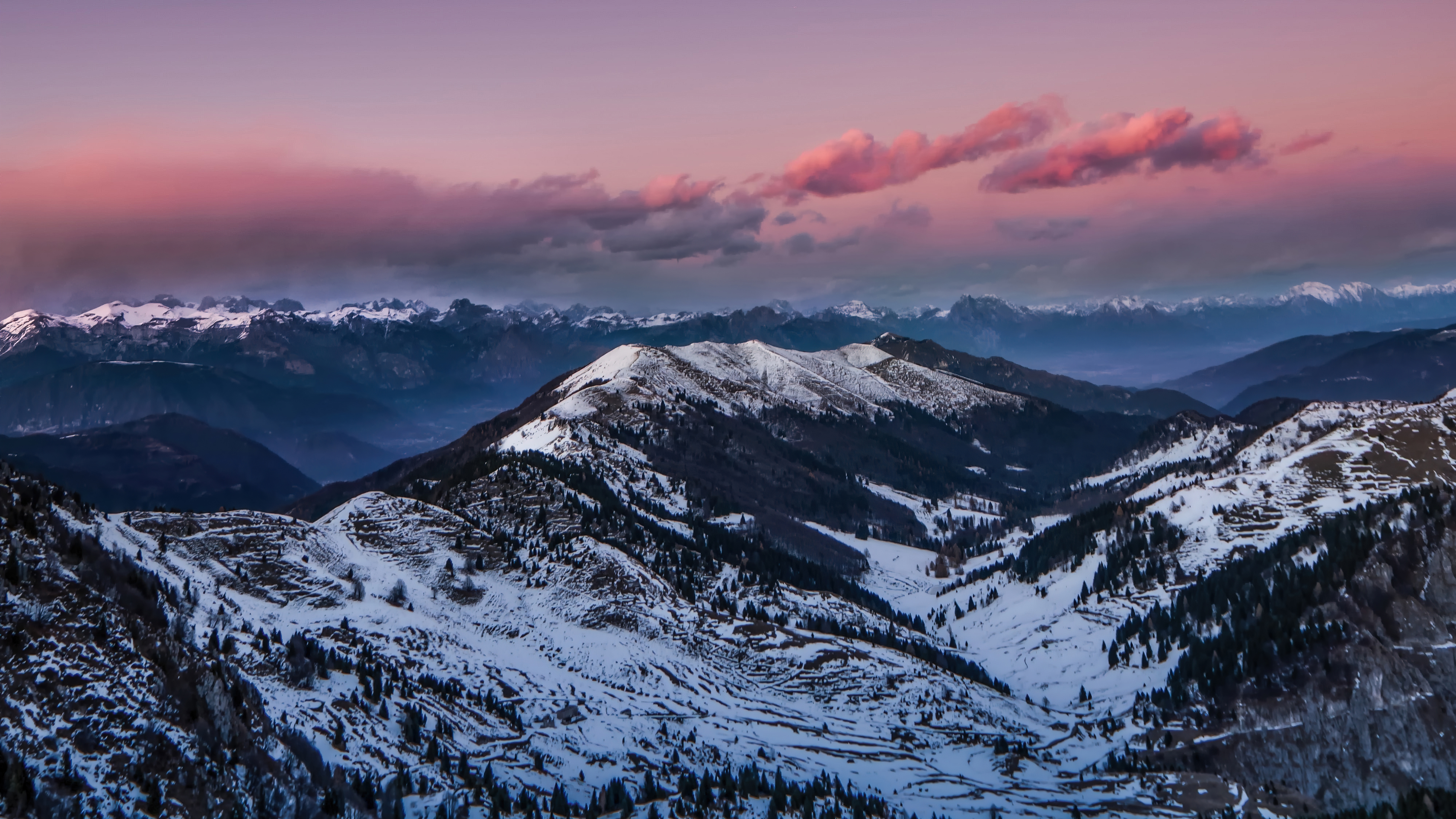 Wallpaper Mountains on pink sunset