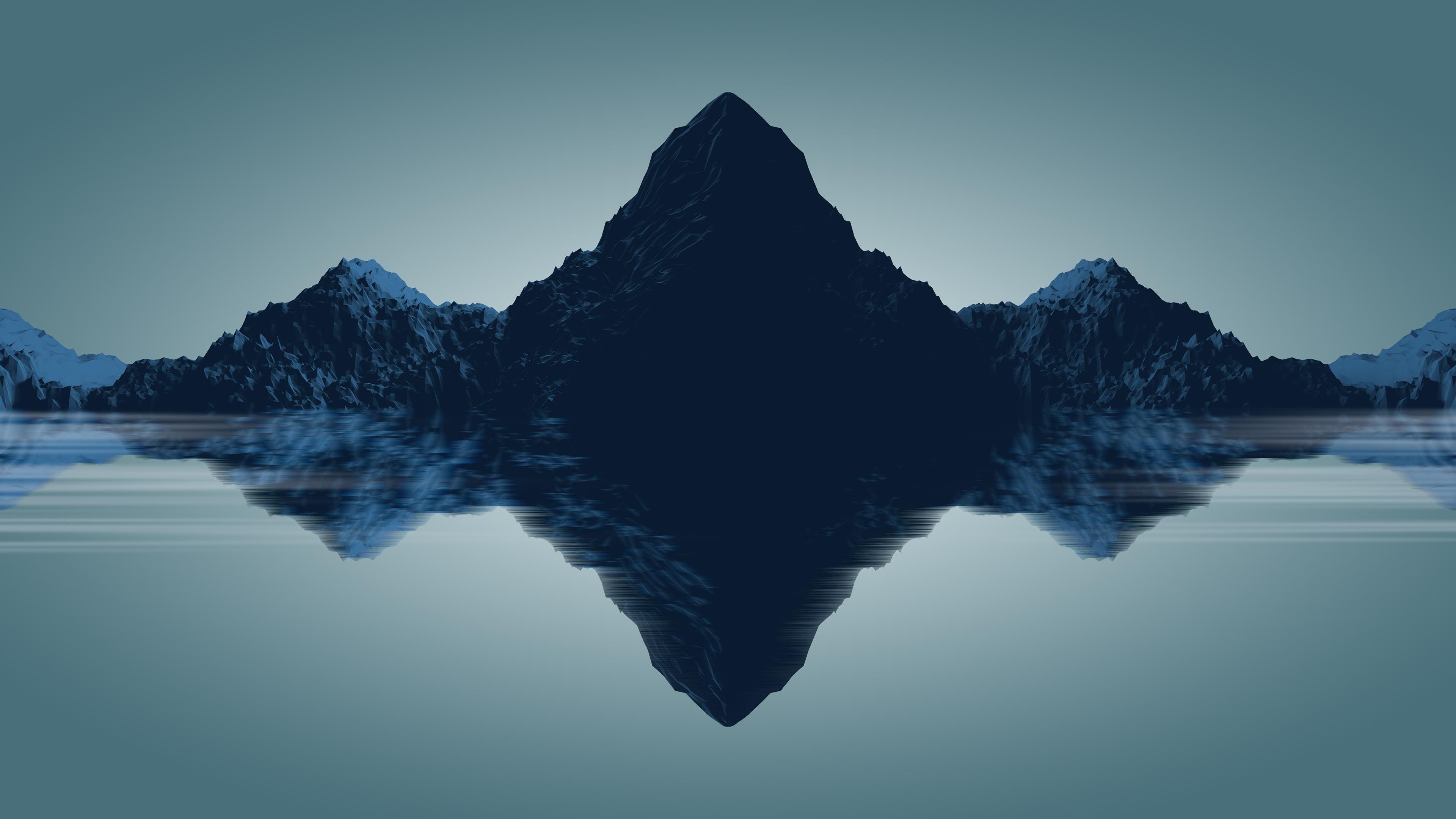 Wallpaper Mountains Minimalist Low Poly Art