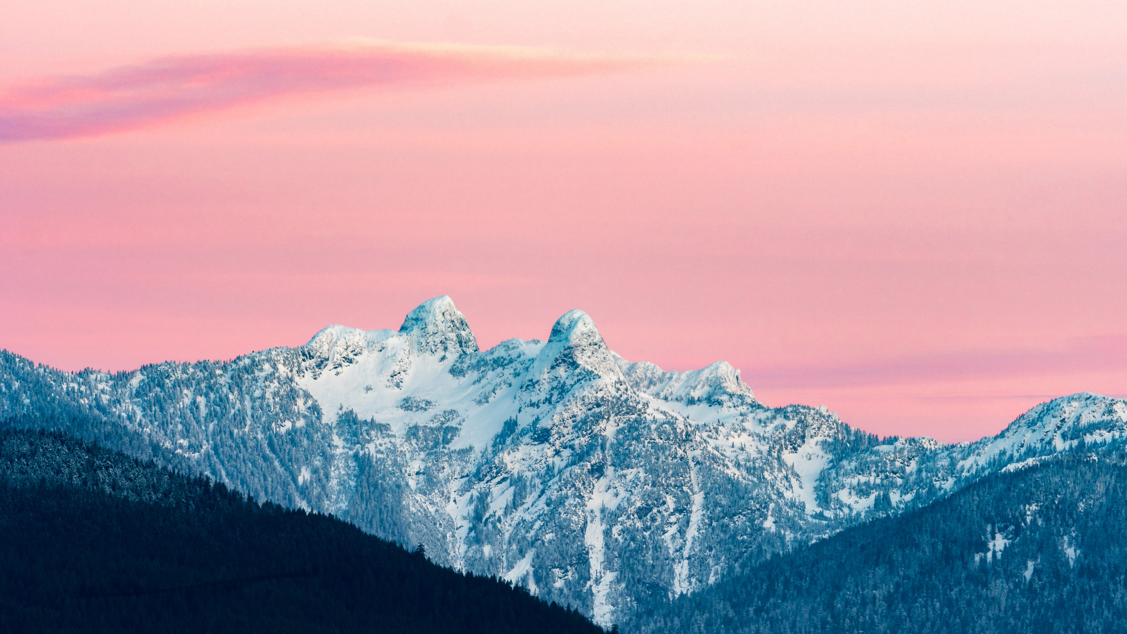 Wallpaper Snowy mountains at sunset in Canada