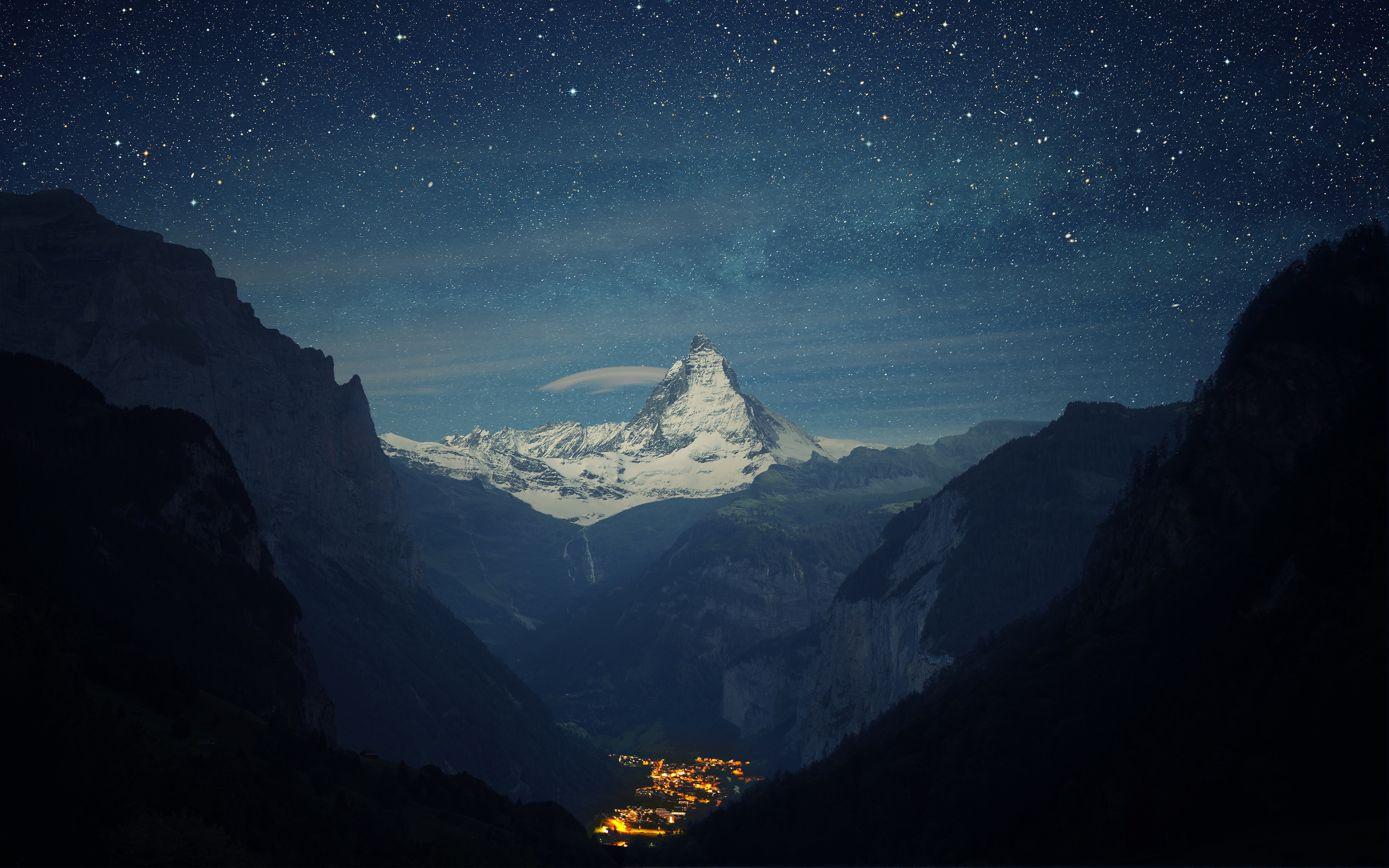 Wallpaper Snowy mountains with night stars