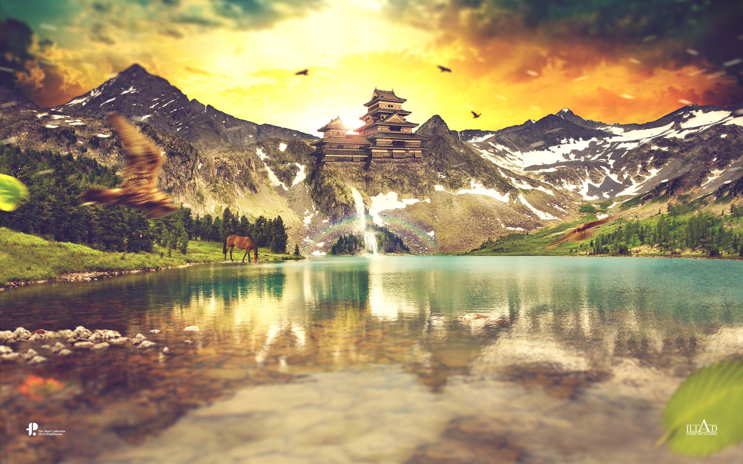 Fondo de pantalla de Montañas reflejándose en las montañas Imágenes